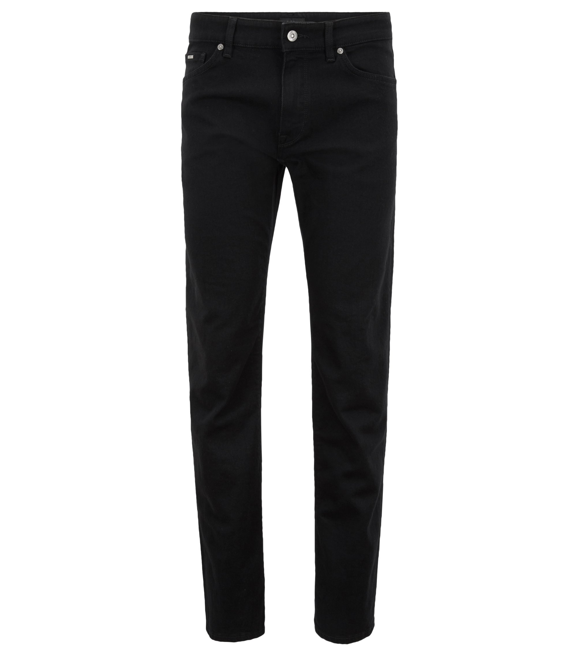 Jeans regular fit in denim elasticizzato nero intenso, Nero