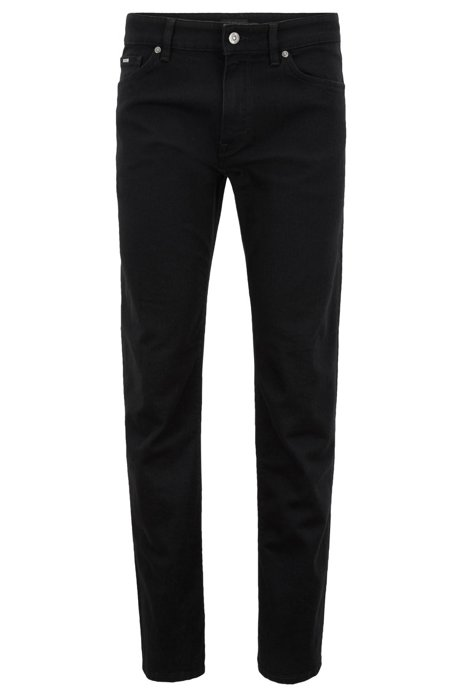 Regular-fit jeans in deep-black stretch denim, Black