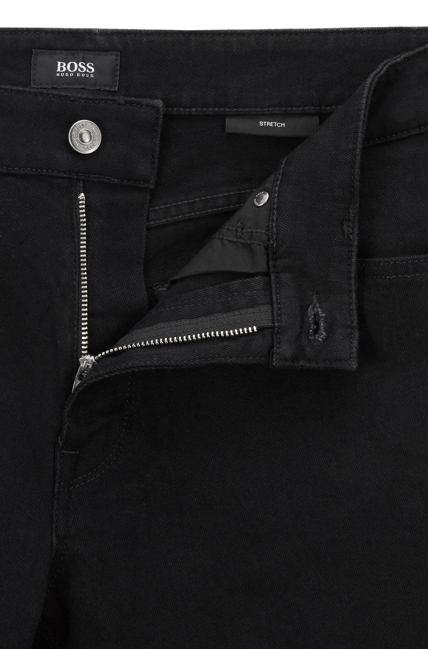 Jean Regular Fit en denim stretch noir profond, Noir