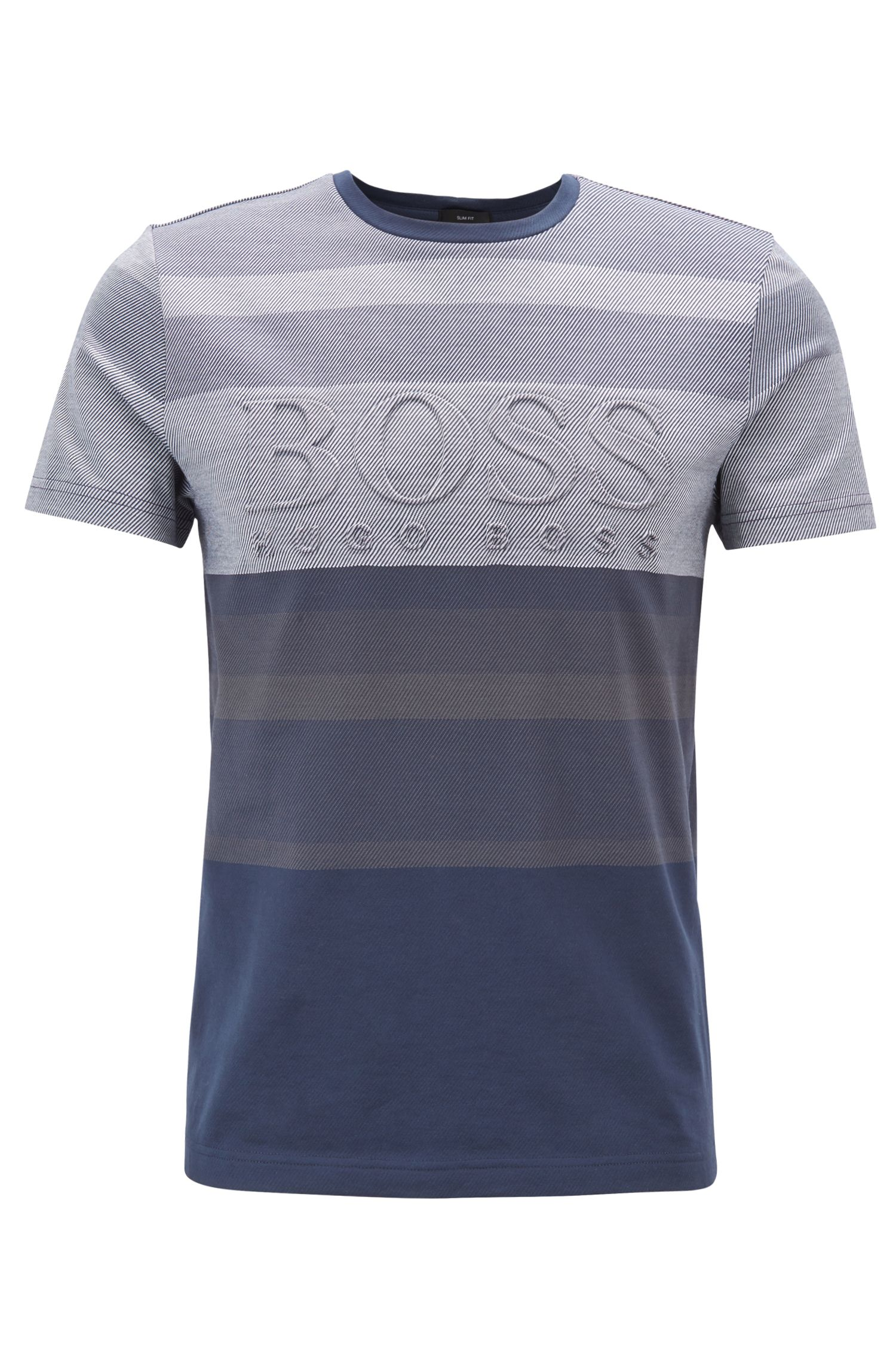 Cotton-jacquard T-shirt with irregular stripes and embossed logo, Blue