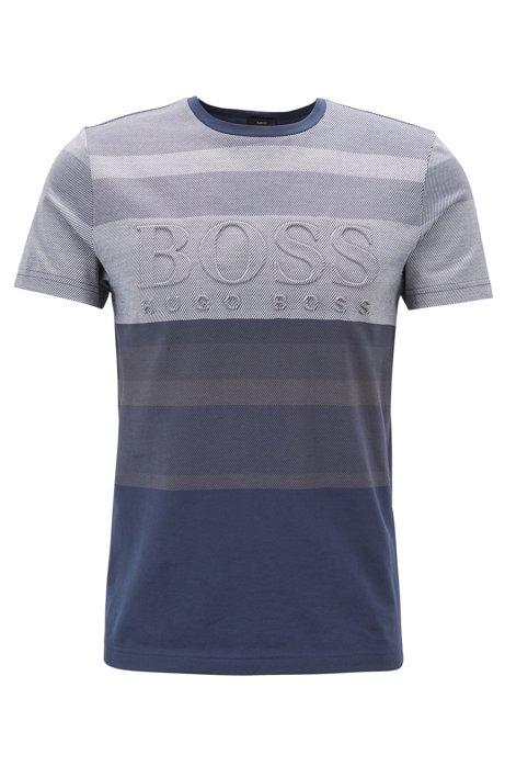 T-shirt en jacquard de coton avec rayures irrégulières et logo embossé, Bleu