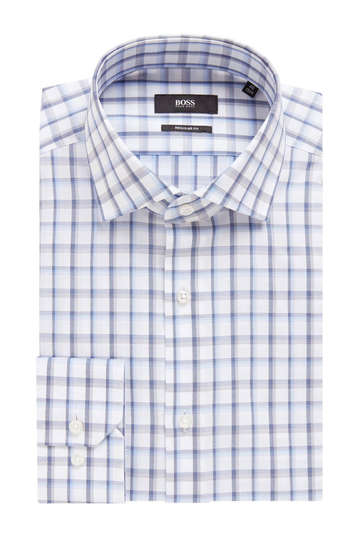 Regular-fit shirt in Oxford cotton with Vichy check, Blue