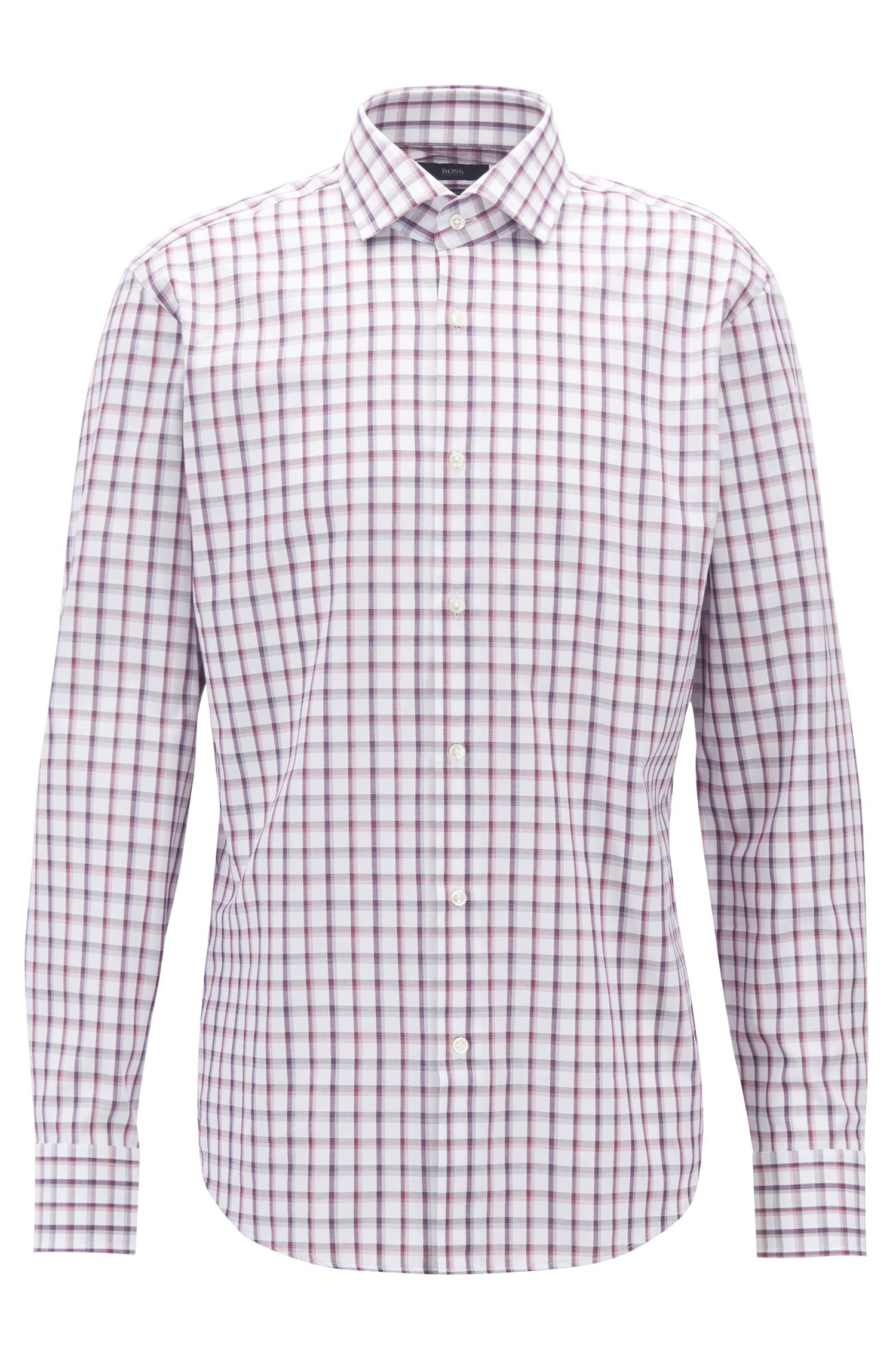 Regular-fit shirt in Oxford cotton with Vichy check, Dark pink