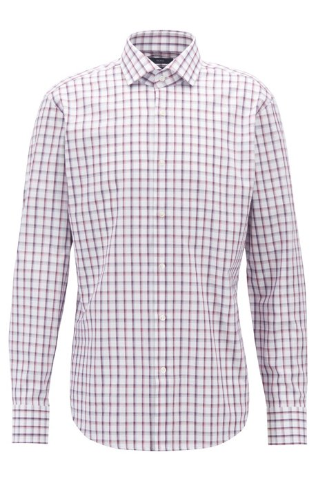 Camicia regular fit in cotone oxford a quadri Vichy, Rosa scuro