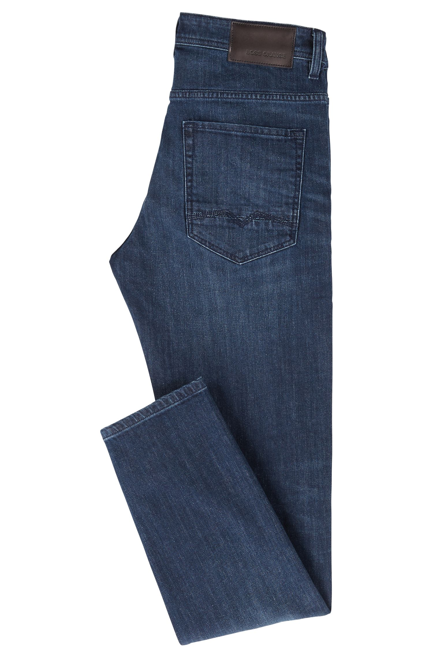 Tapered-Fit Jeans aus Stretch-Denim, Dunkelblau