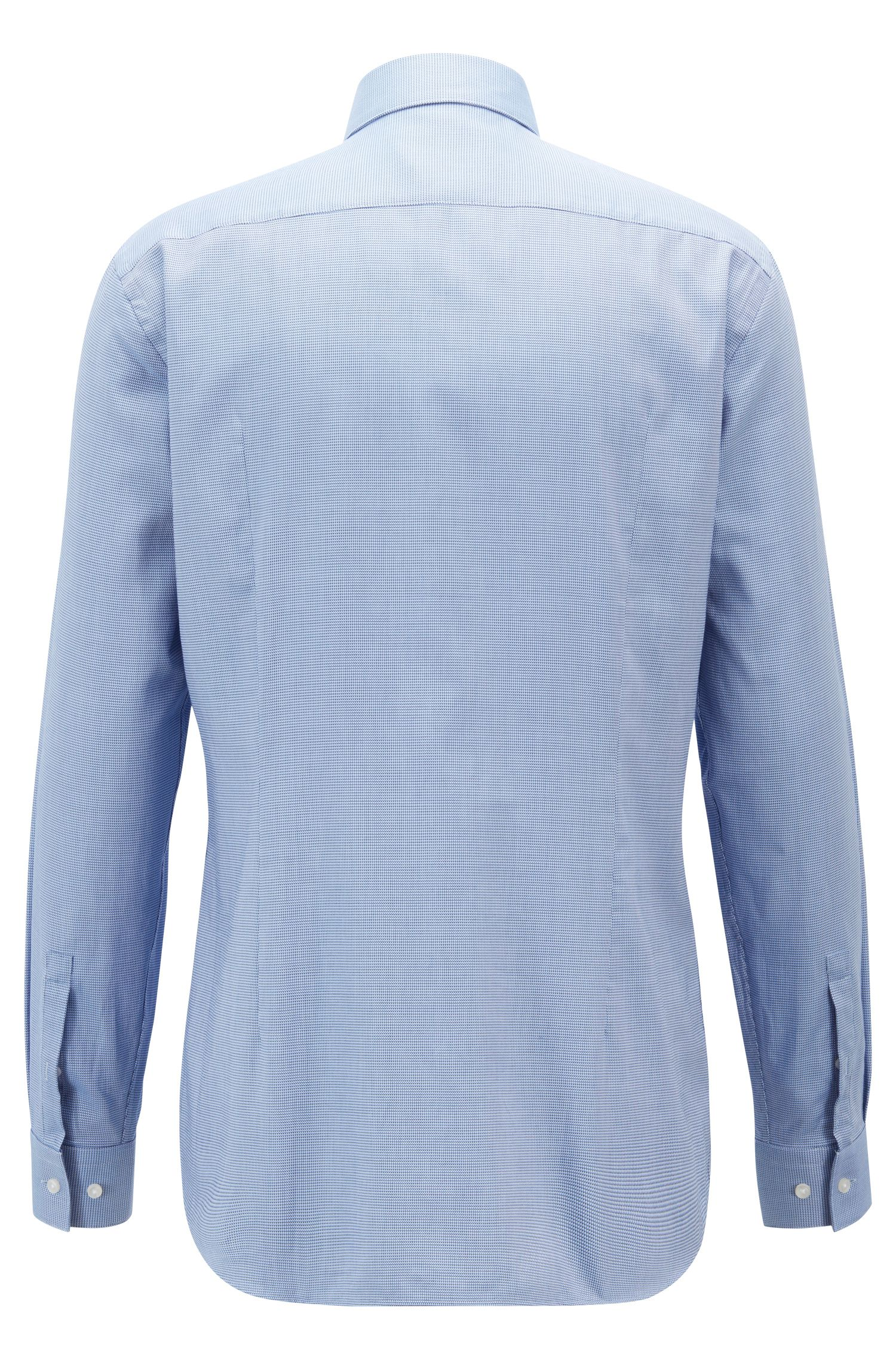 Slim-fit shirt in two-colour micro-structured cotton, Light Blue