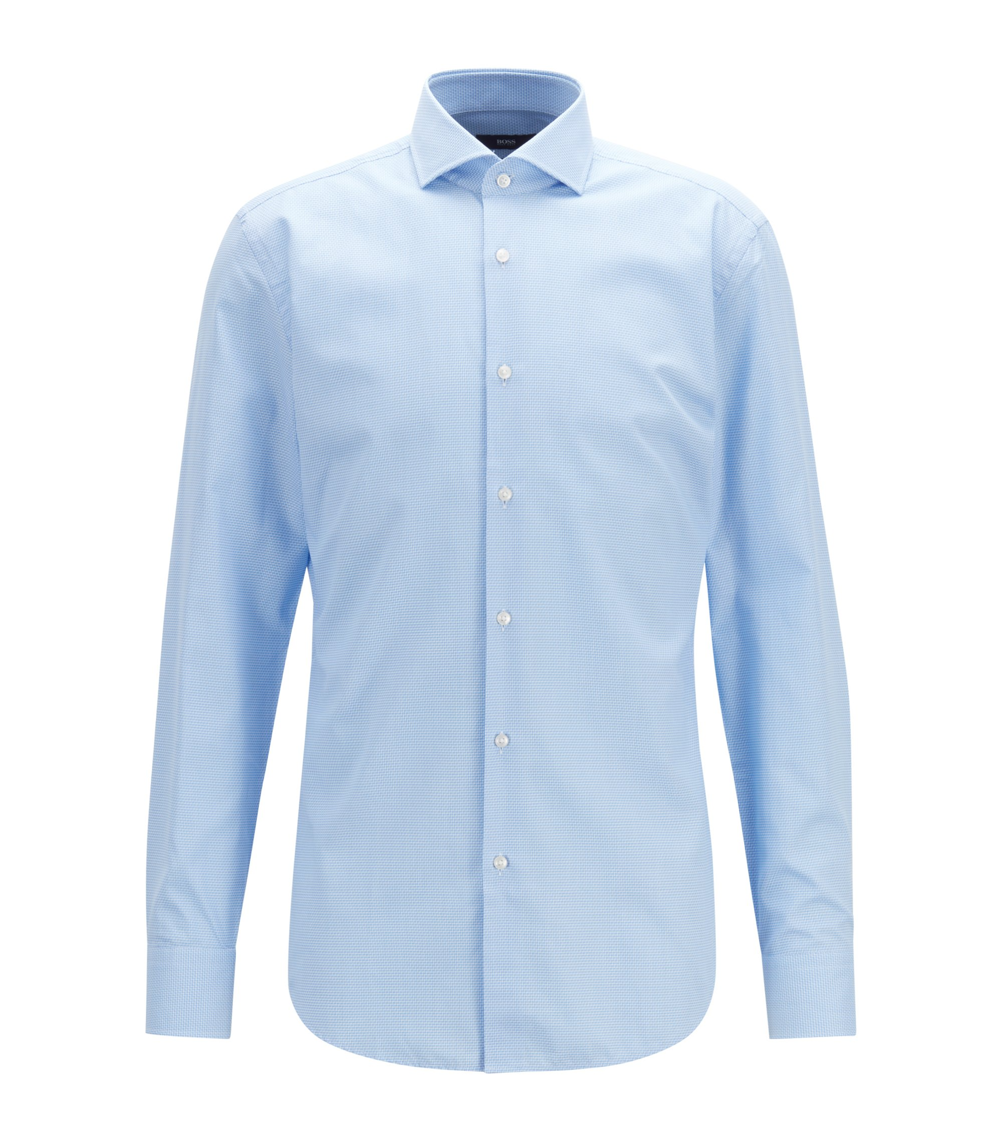 Slim-fit shirt in cotton with micro structure, Light Blue