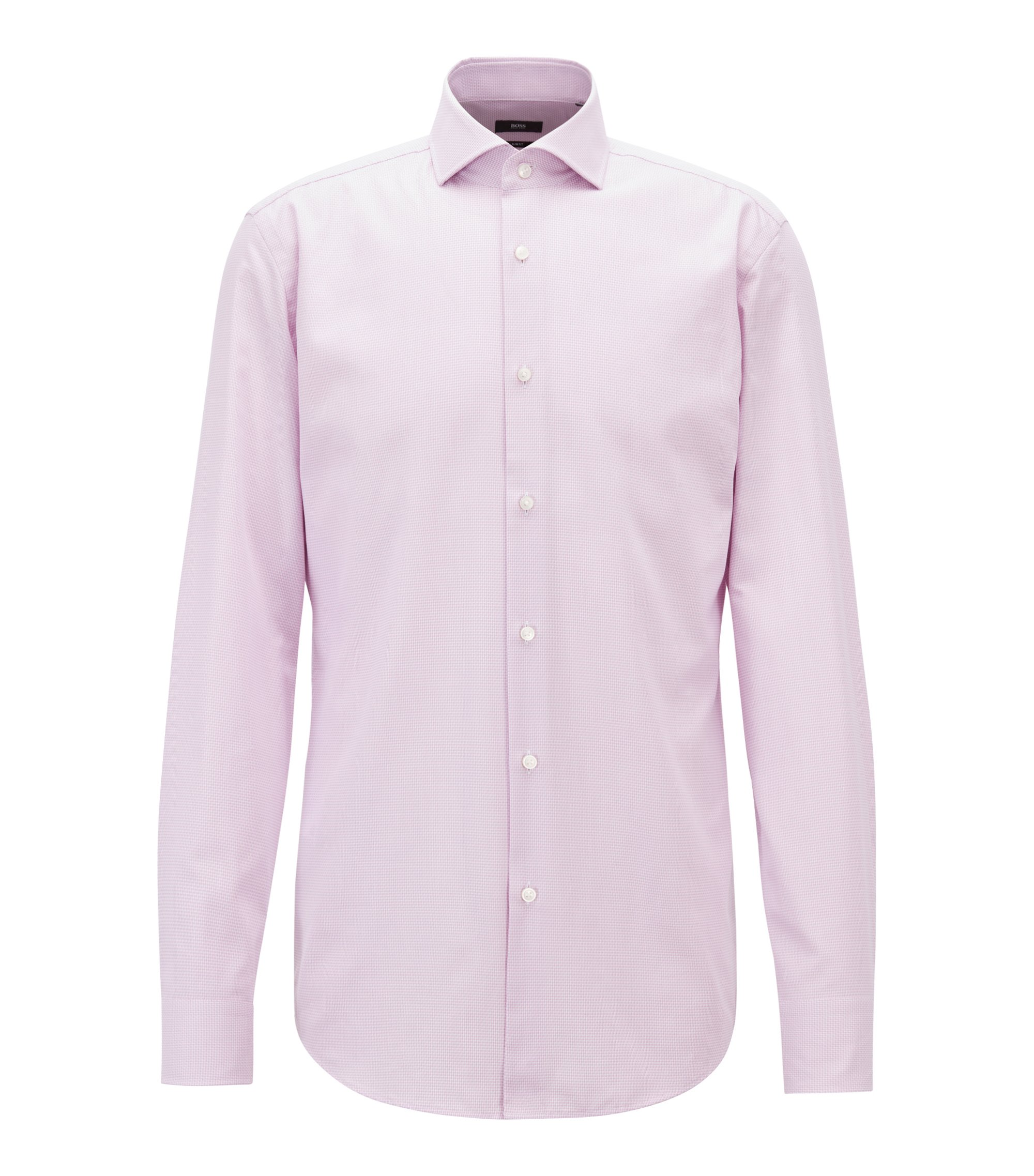 Slim-Fit Hemd aus Baumwolle mit dezenter Struktur, Hellrosa