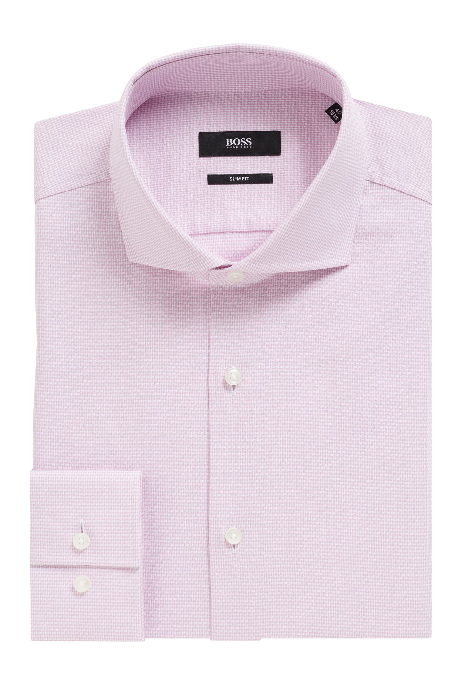 Slim-fit shirt in cotton with micro structure, light pink