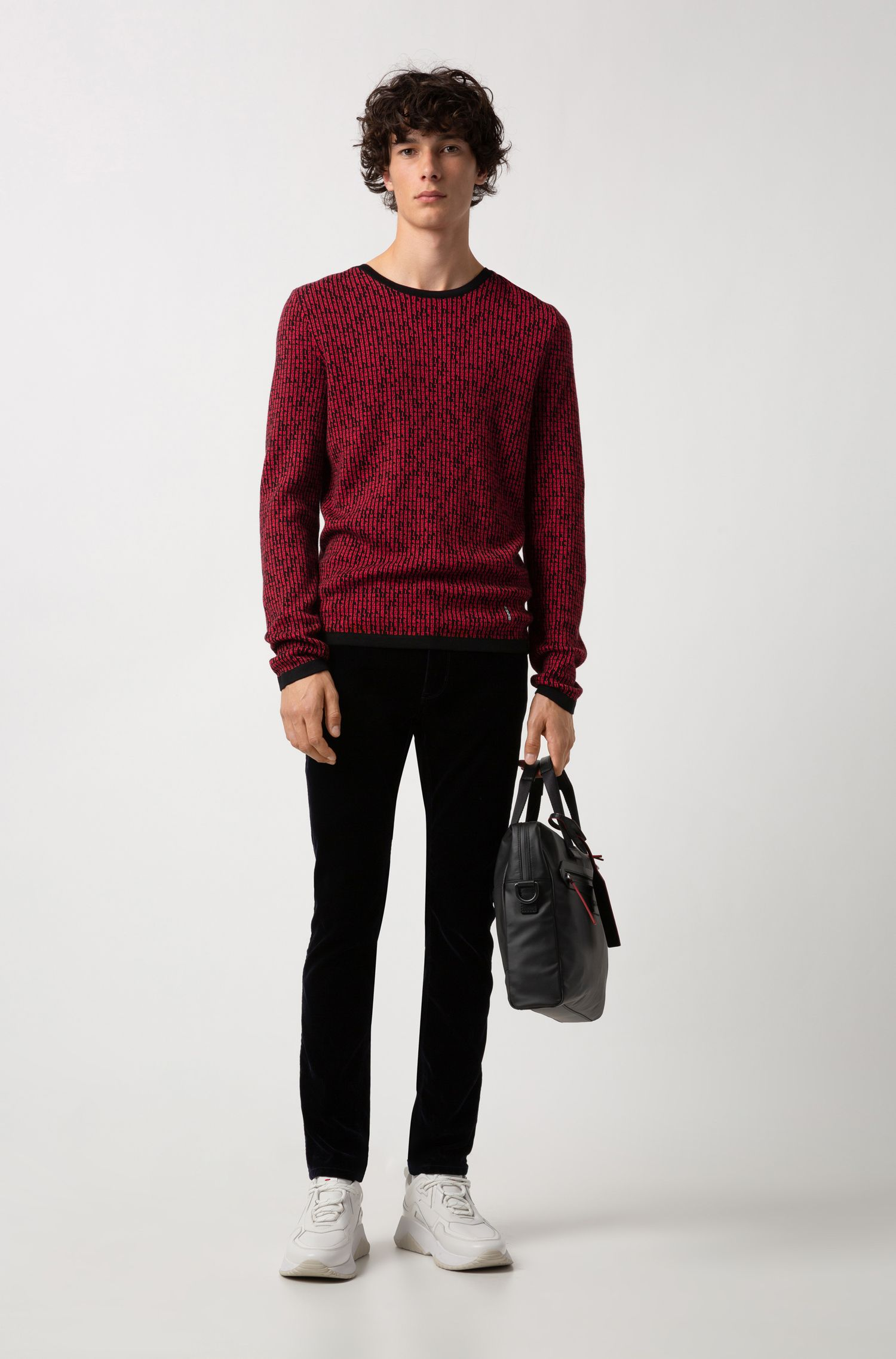 Slim-fit sweater in knitted jacquard with matrix motif, Patterned