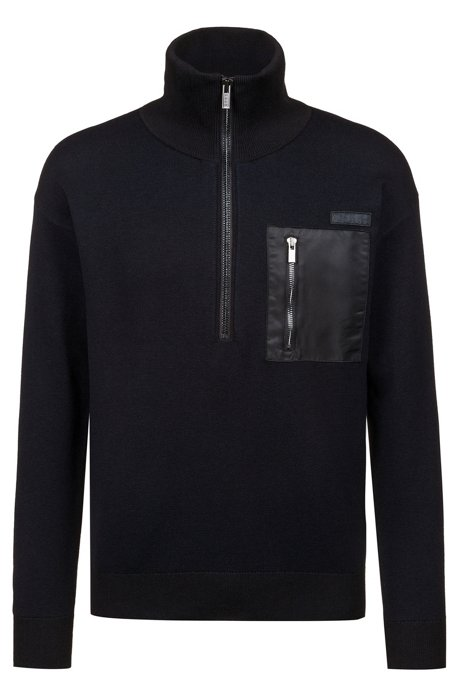 Oversized Pullover aus zweifarbigem Jacquard im Military-Stil, Dunkelblau