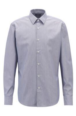 Camisa de planchado fácil en puro algodón con rayas finas, Azul oscuro