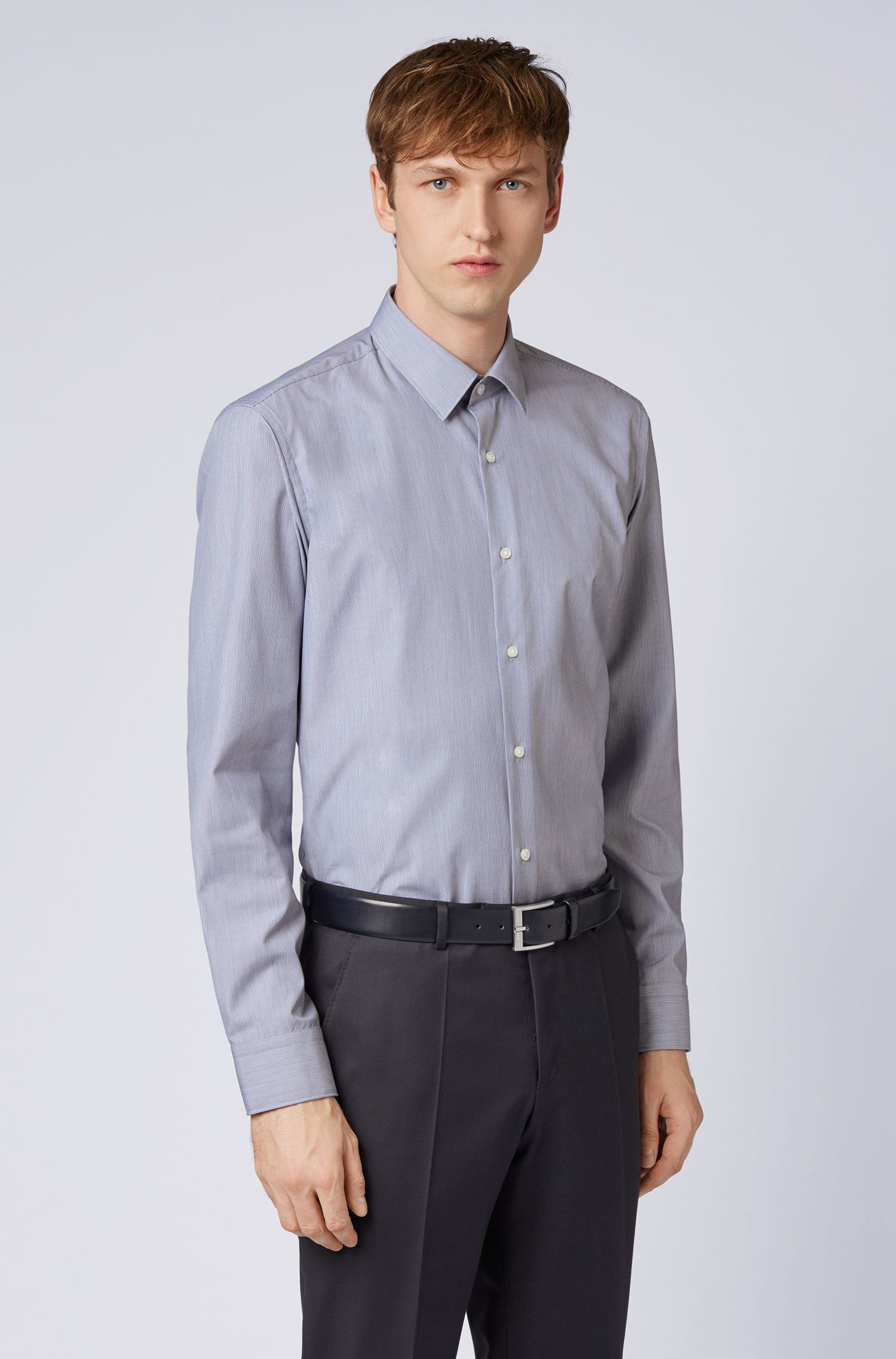 Easy-iron shirt in pure cotton with fine stripes, Dark Blue