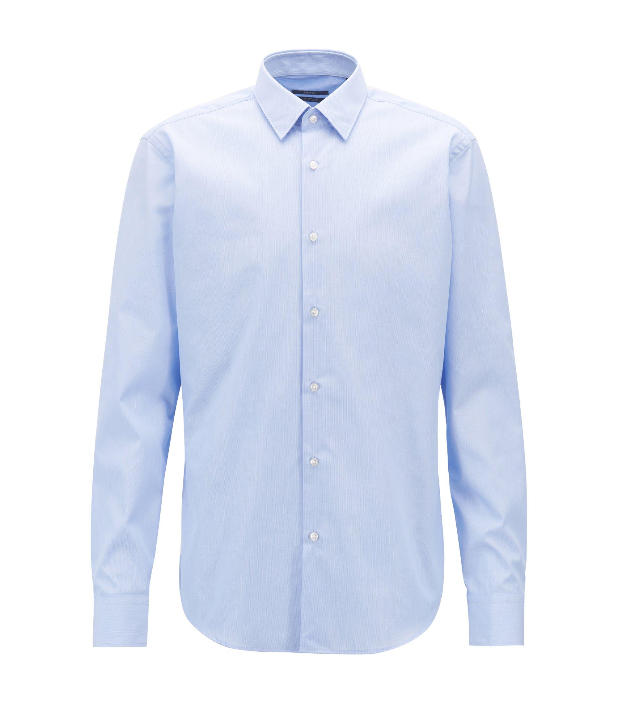 Gemakkelijk te strijken overhemd van zuivere katoen met fijne strepen, Lichtblauw