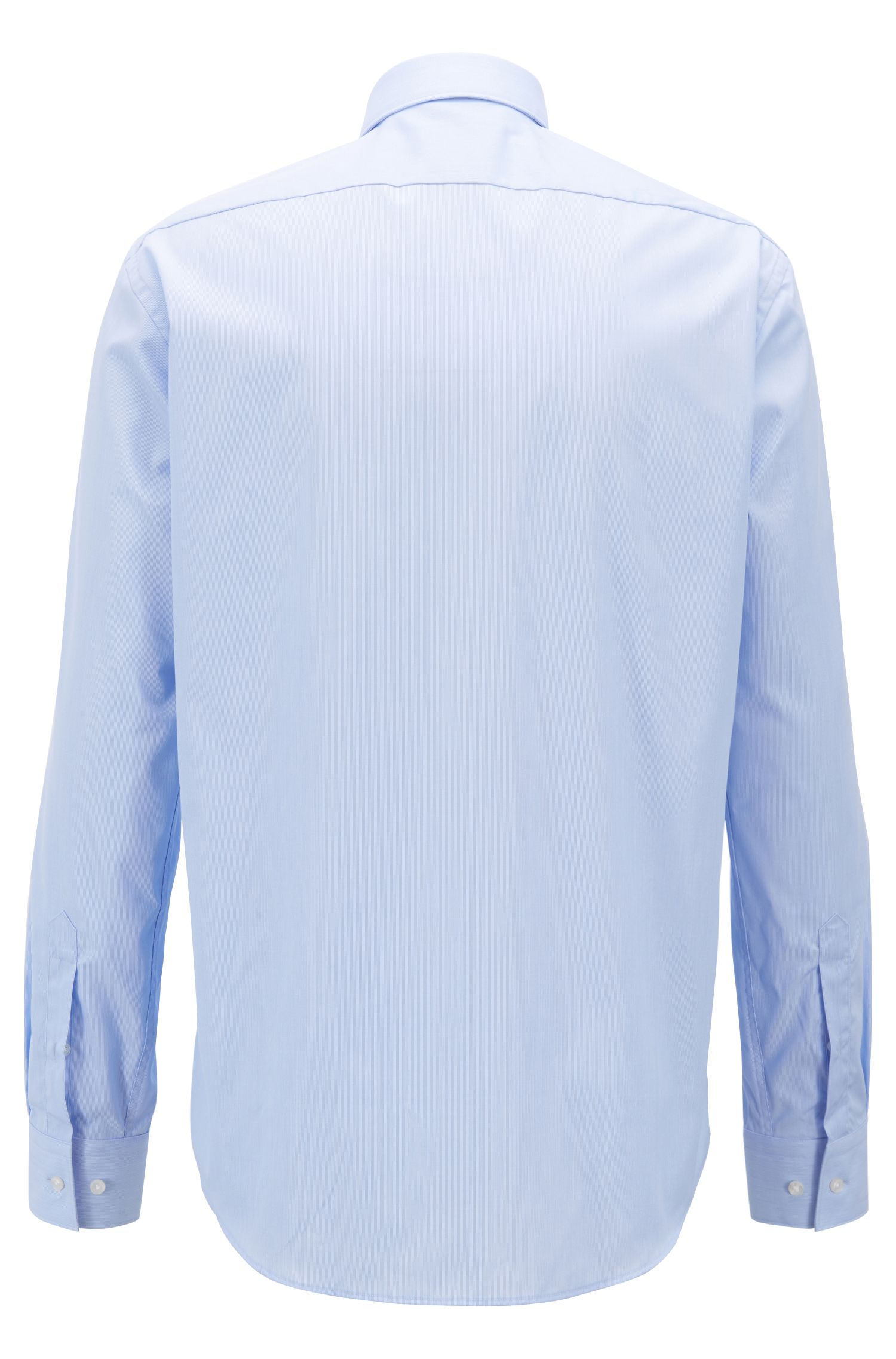 Easy-iron shirt in pure cotton with fine stripes, Light Blue