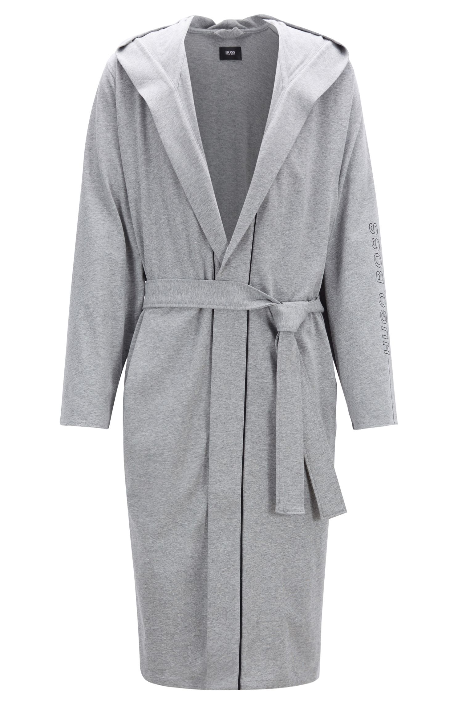 Hooded dressing gown in heavyweight jersey with contrast piping, Grey