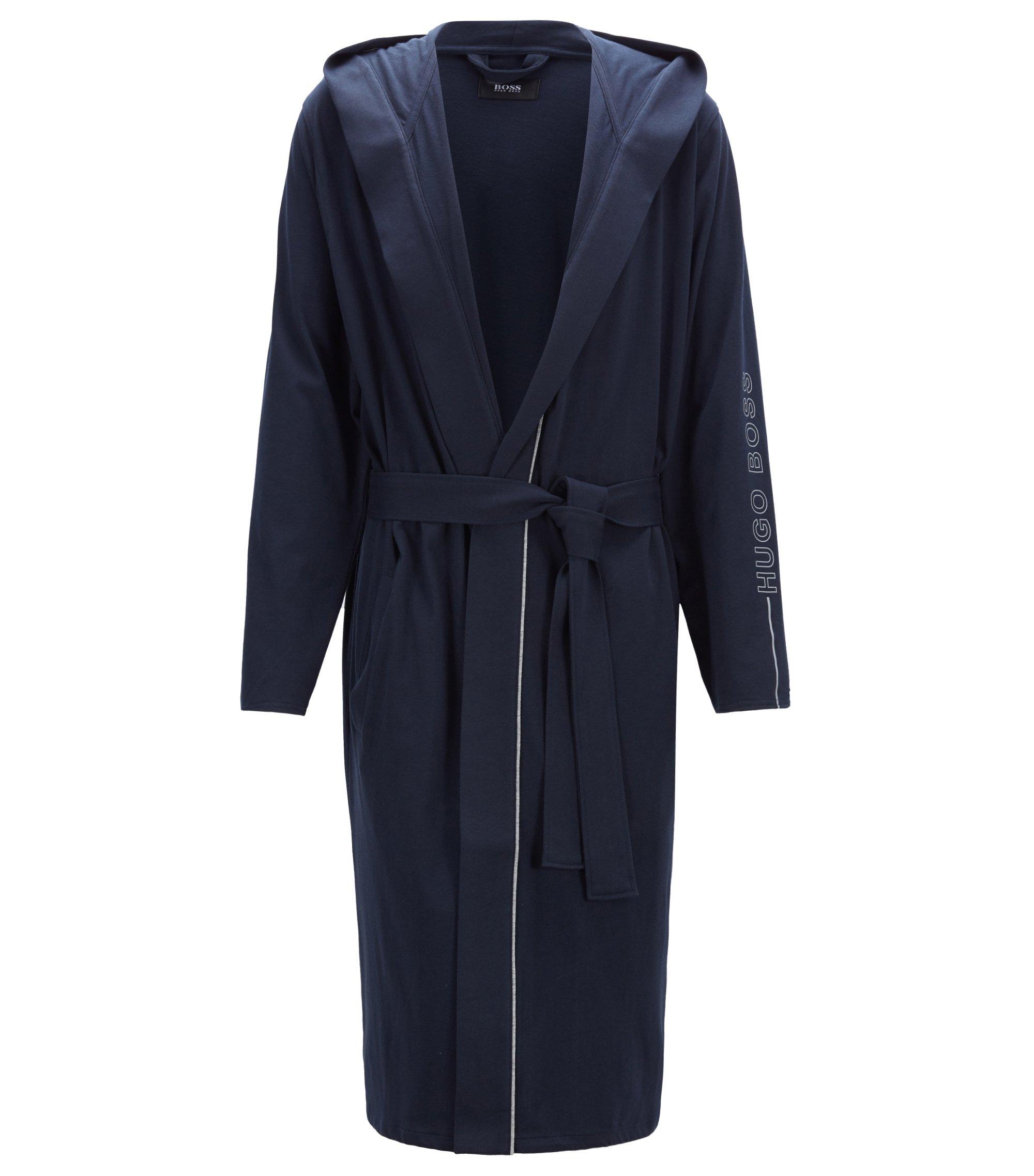 Vestaglia con cappuccio in jersey pesante con profilo a contrasto, Blu scuro