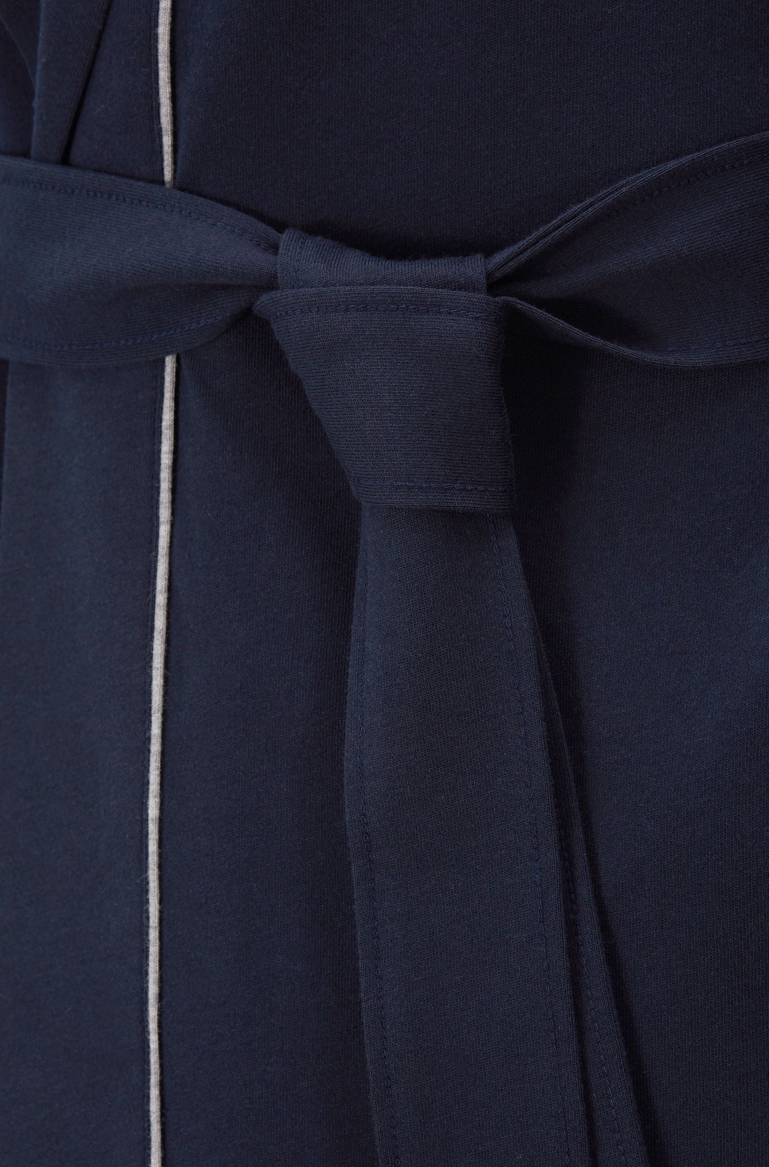 Hooded dressing gown in heavyweight jersey with contrast piping, Dark Blue