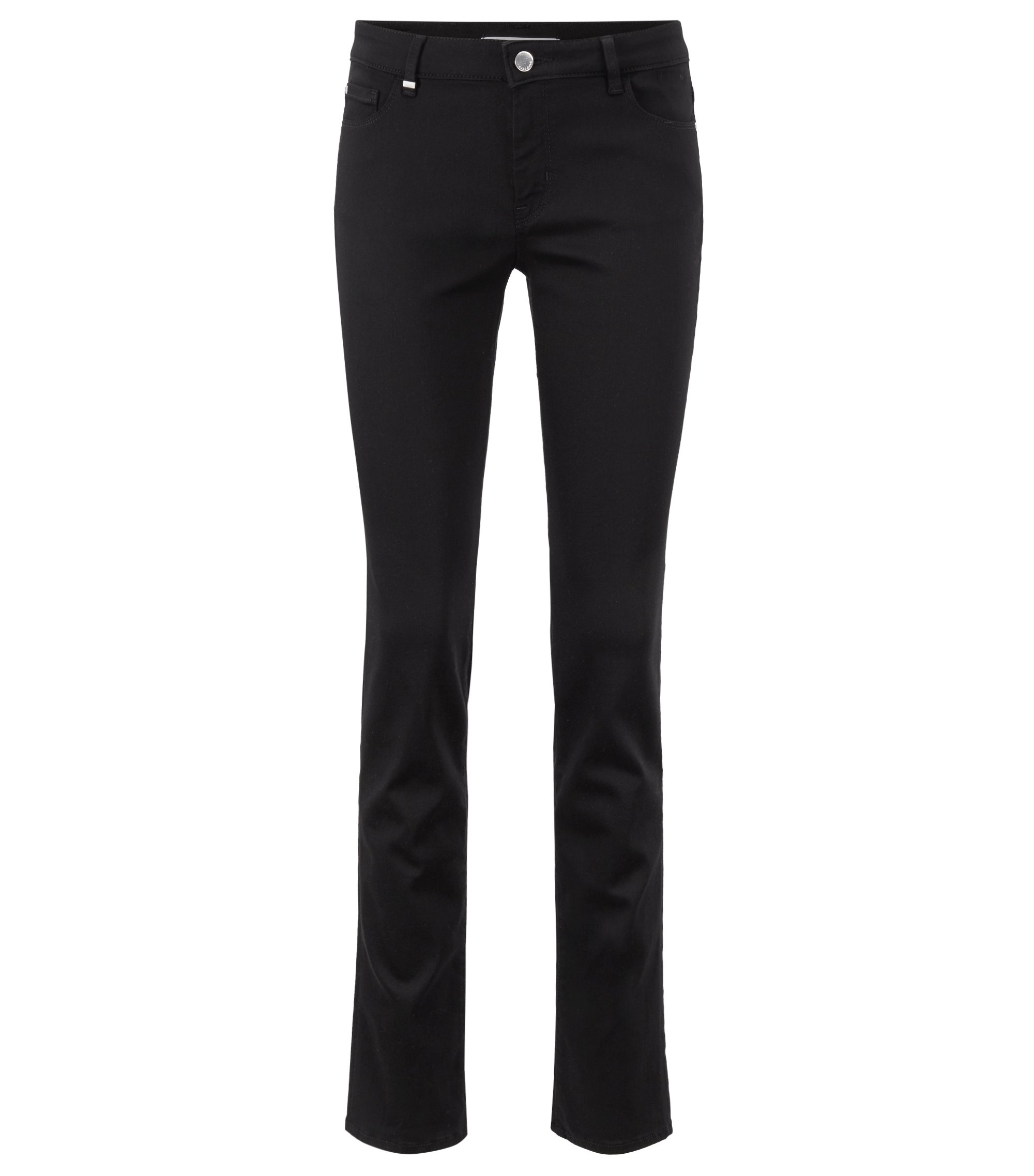 Slim-fit jeans in super-stretch black denim, Black