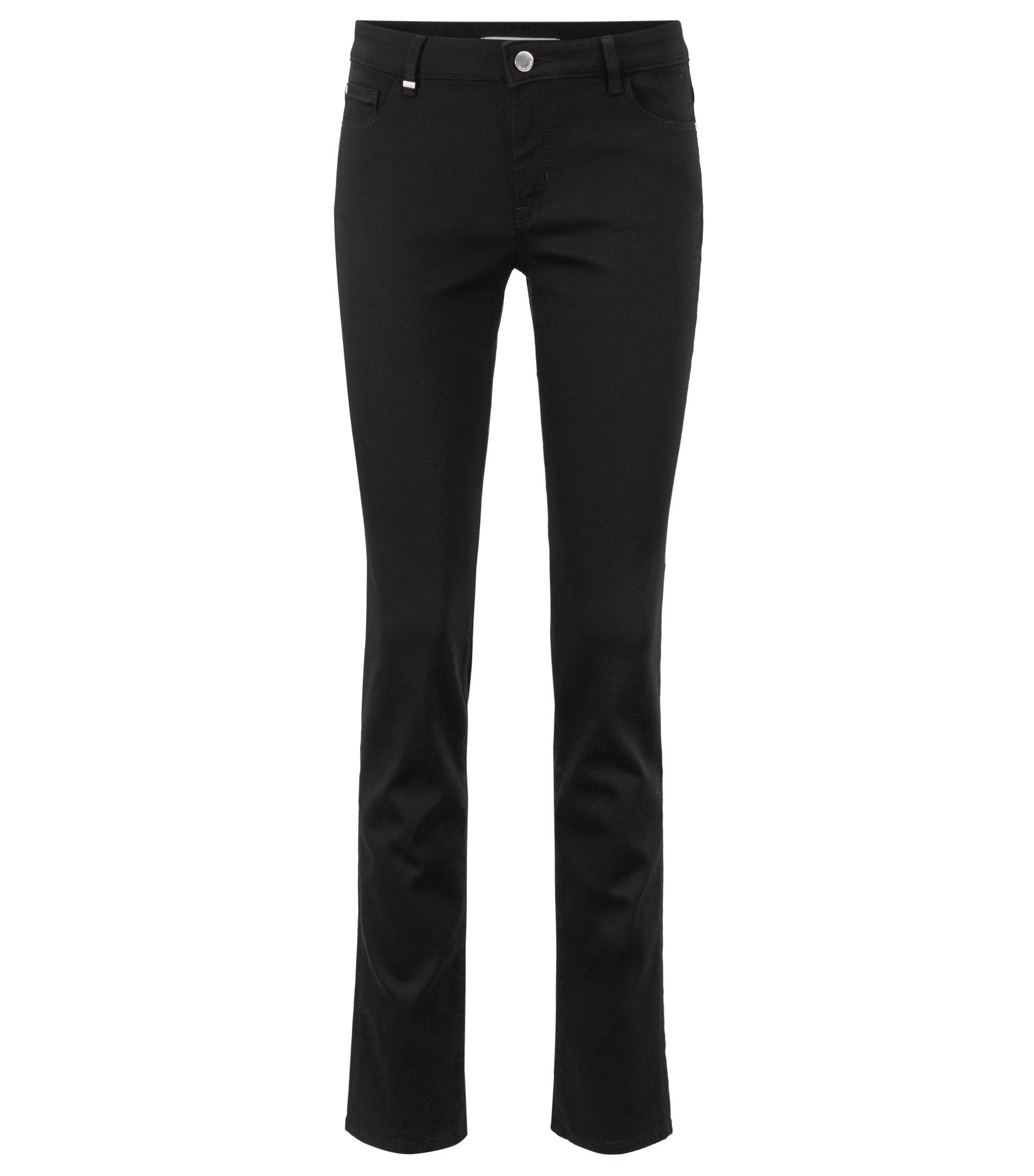 Slim-fit jeans van superelastisch zwart denim, Zwart