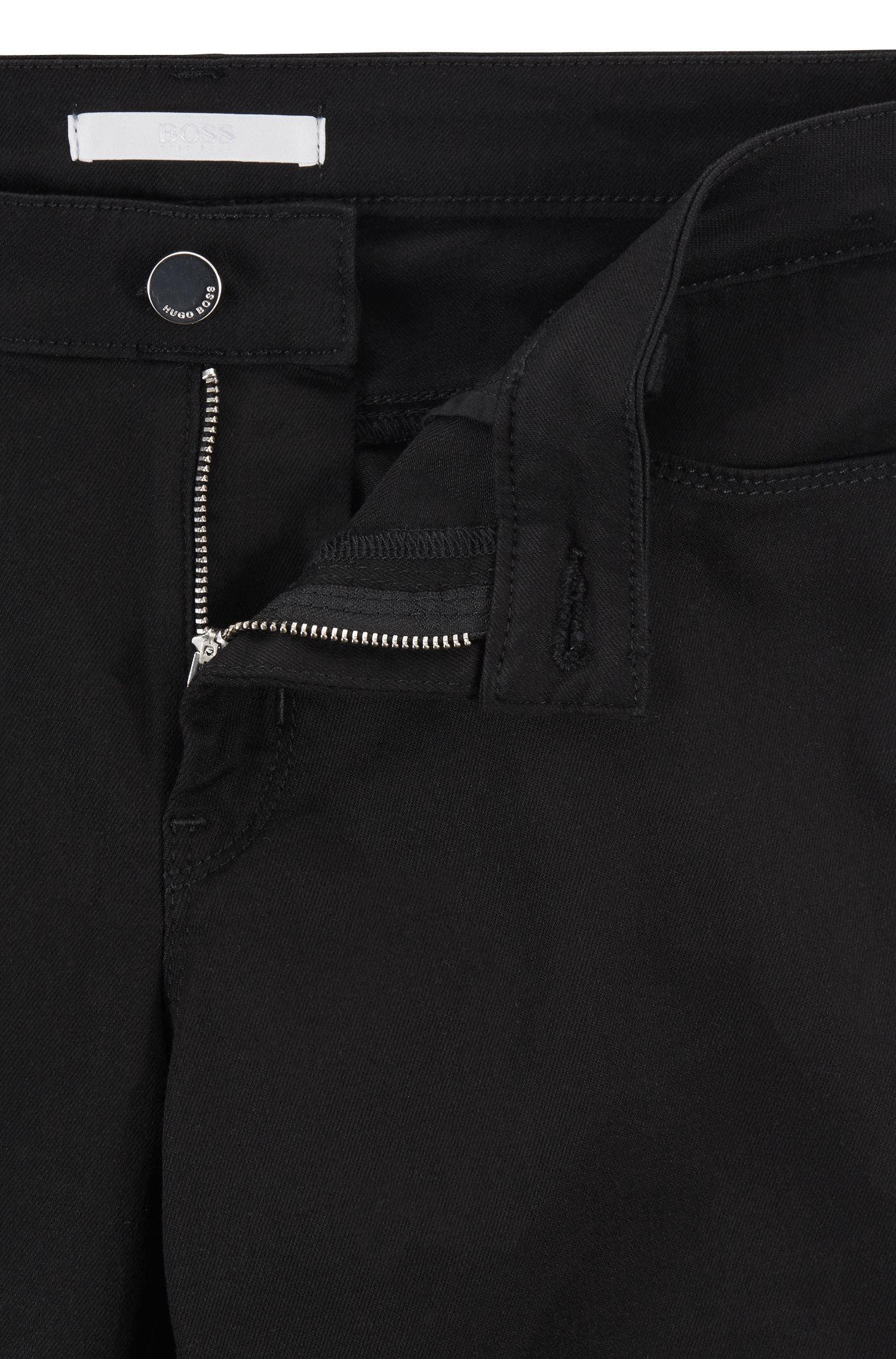 Jeans slim fit in denim nero super-elasticizzato, Nero