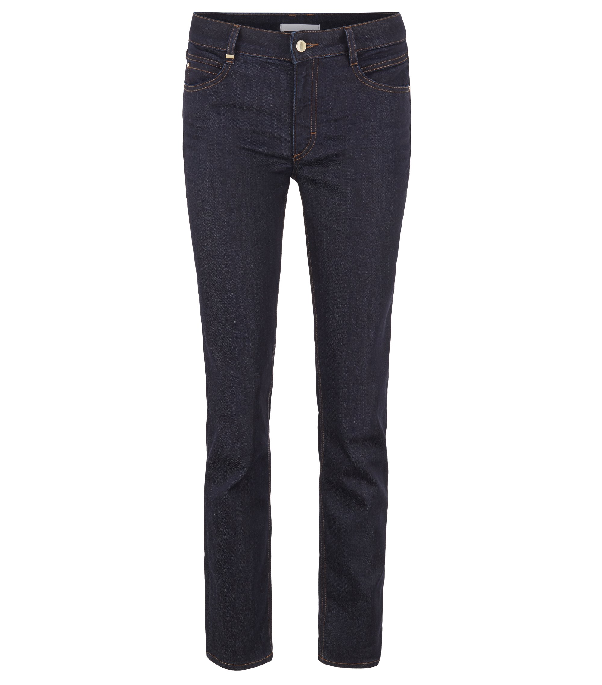 Regular-fit cropped jeans in luxury comfort-stretch denim, Dunkelblau