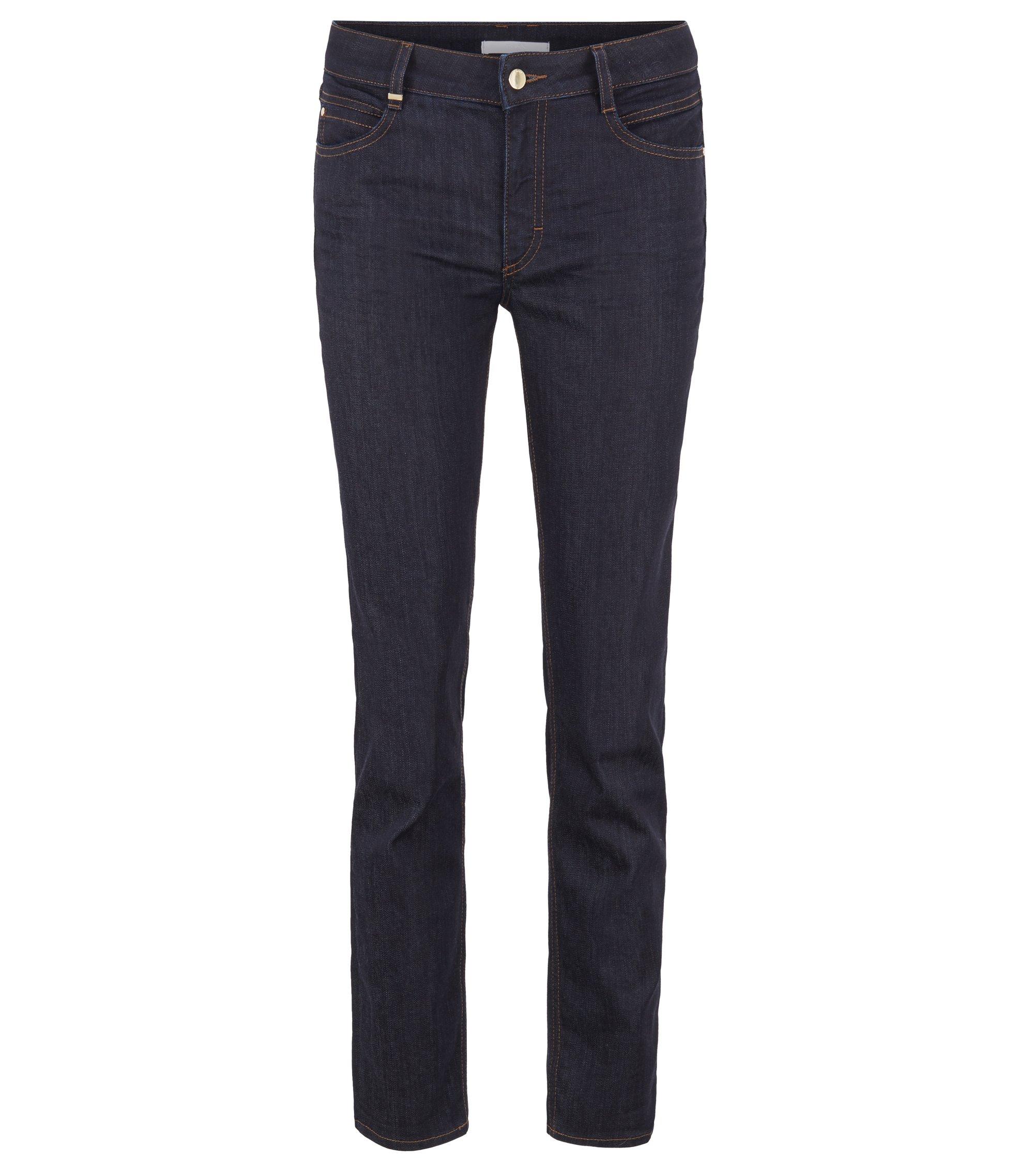 Kortere regular-fit jeans van luxueus comfort-stretchdenim, Donkerblauw
