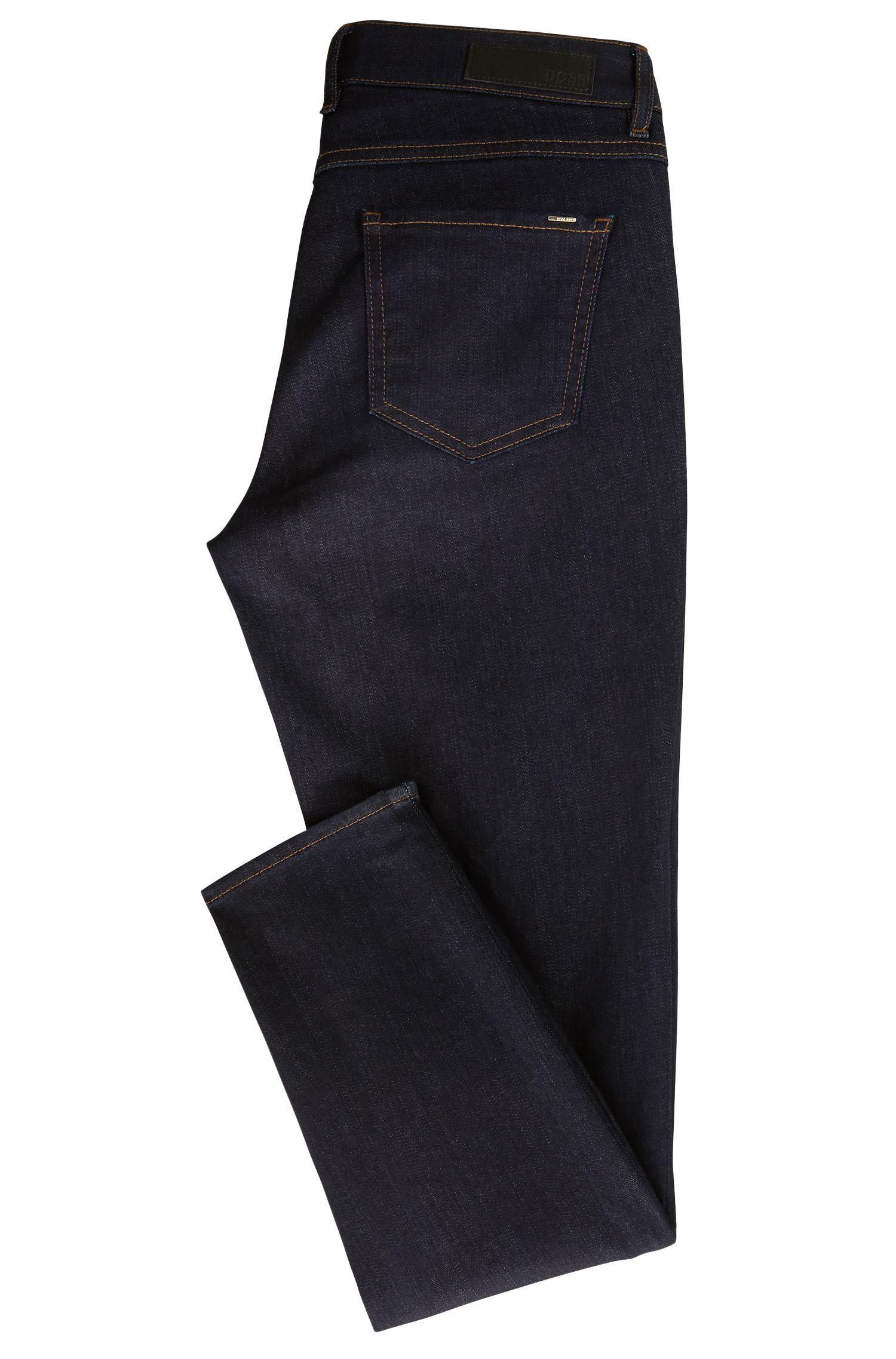 Regular-fit cropped jeans in luxury comfort-stretch denim, Dark Blue