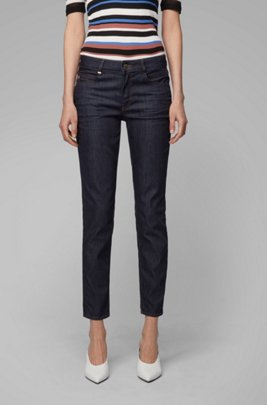 Regular-fit cropped jeans in luxury comfort-stretch denim, Dark Blue