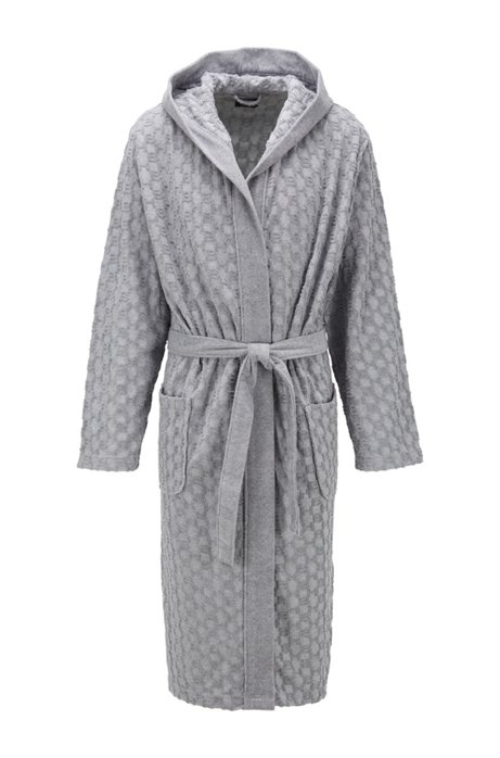 Hooded dressing gown in monogrammed French terry, Grey