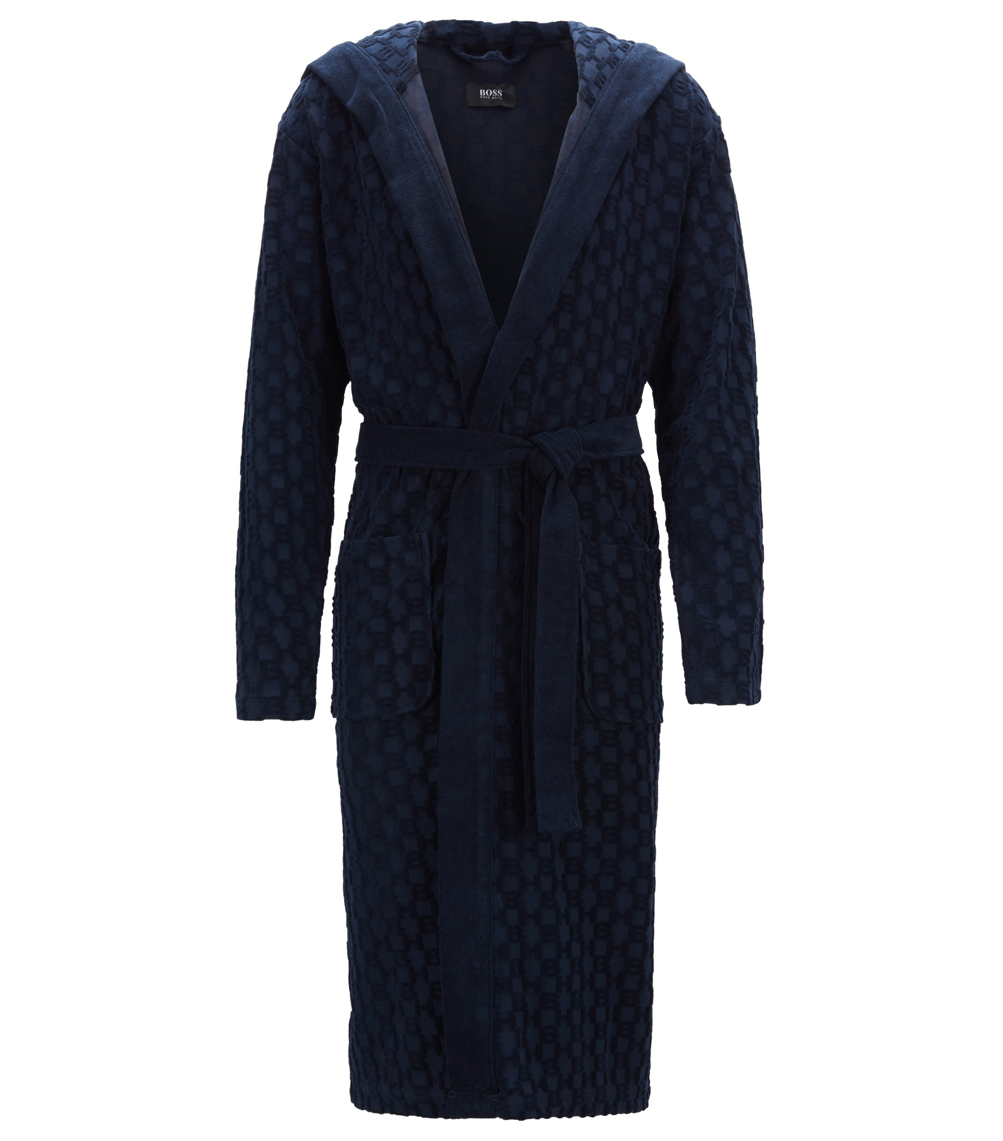 Hooded dressing gown in monogrammed French terry, Dunkelblau
