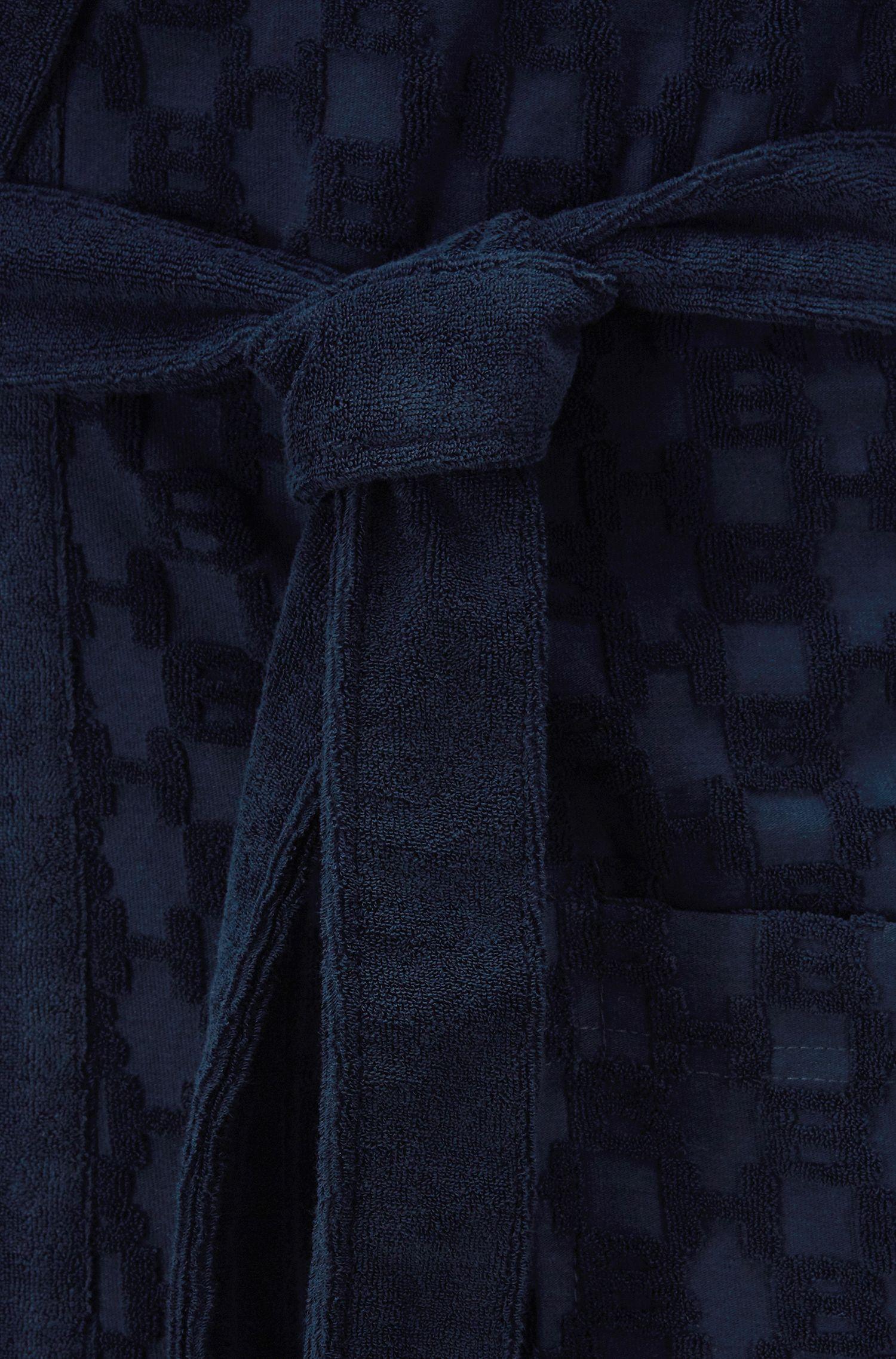 Ochtendjas van badstof met monogrammen en capuchon, Donkerblauw