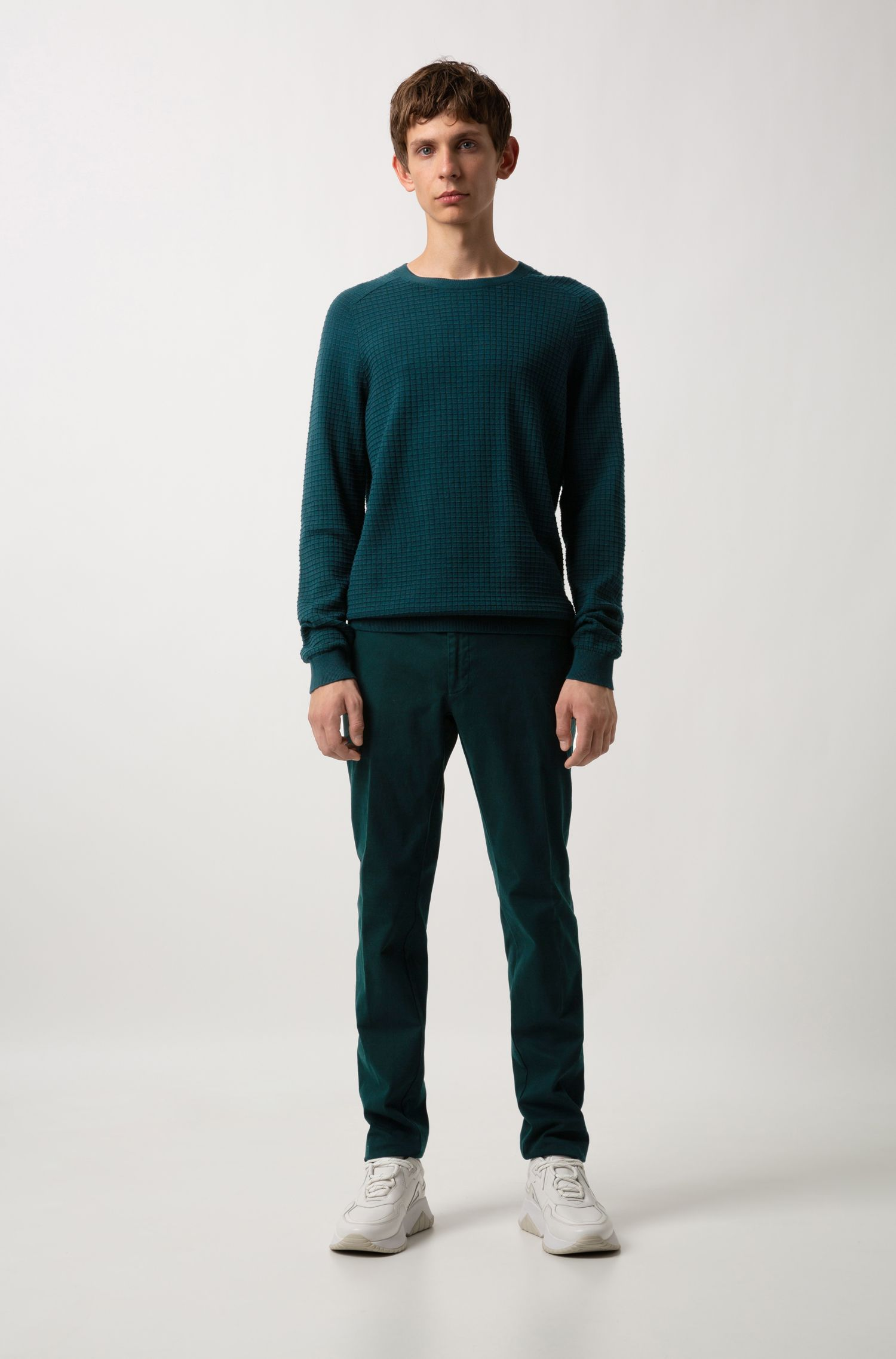 Crew-neck sweater in knitted cotton with grid structure, Dark Green