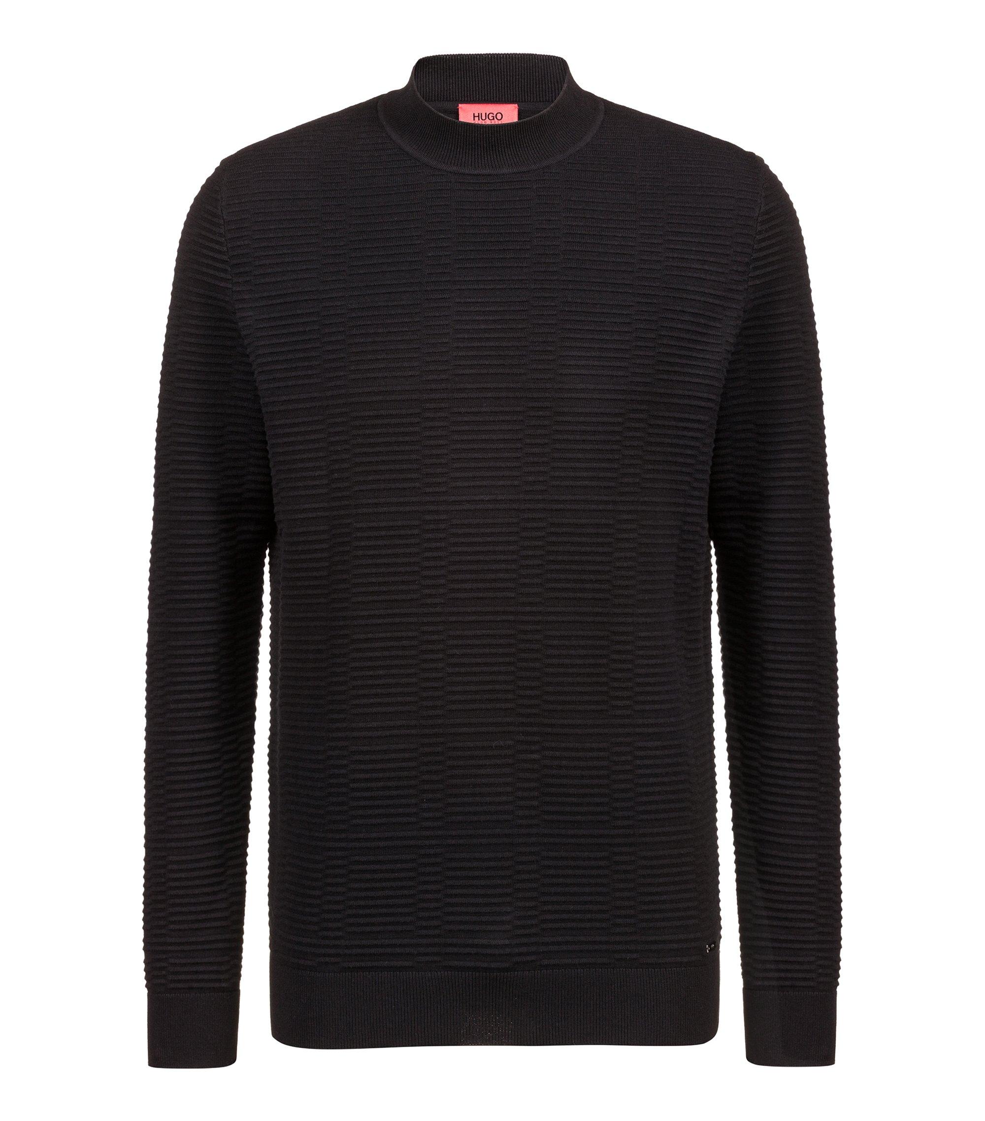 Pullover aus Baumwolle mit Ottoman-Struktur, Schwarz