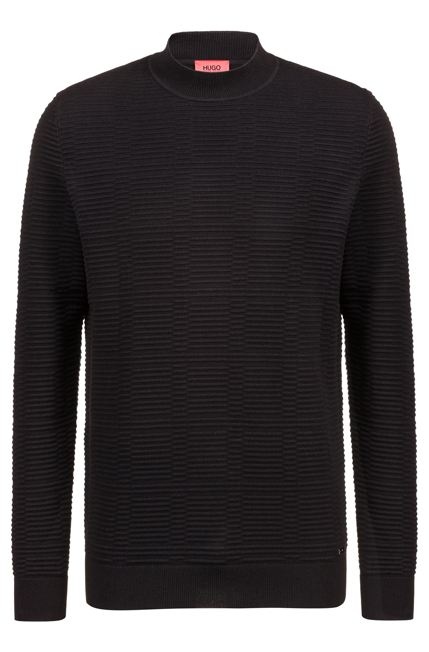 Jersey relaxed fit en algodón de punto otomano, Negro