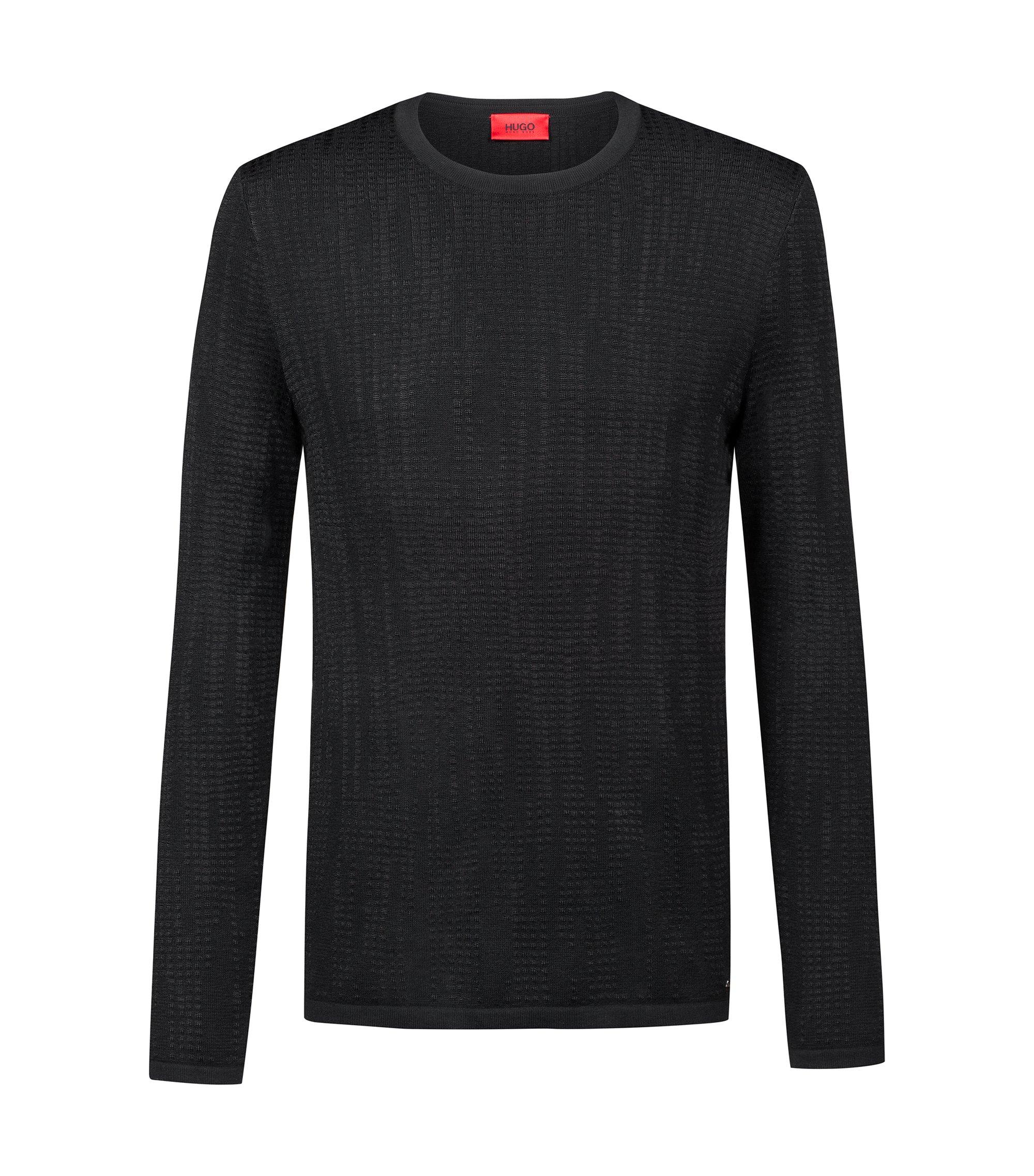 Pullover aus strukturiertem Material-Mix, Schwarz