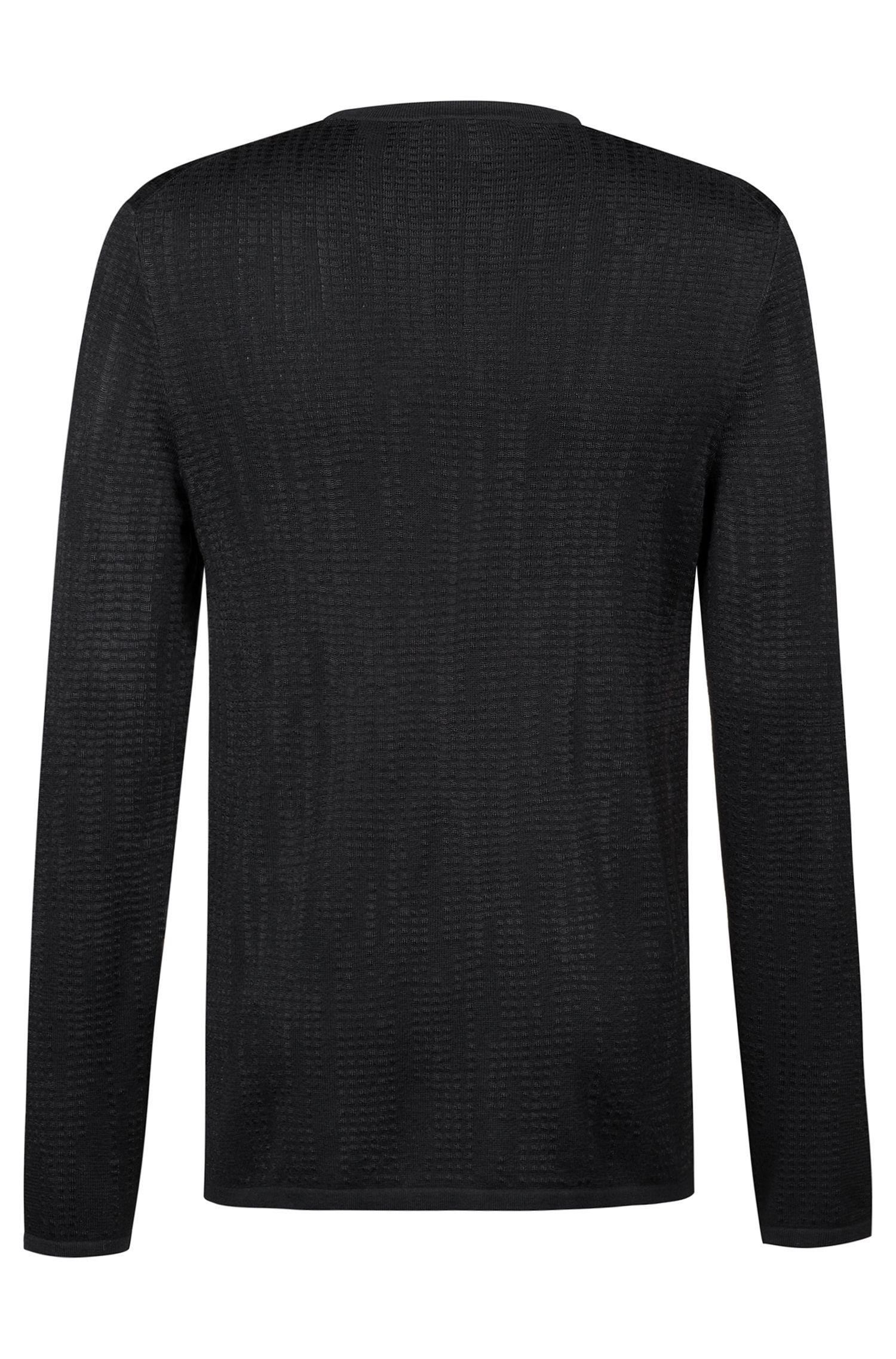 Slim-fit trui van gestructureerd materiaal, Zwart