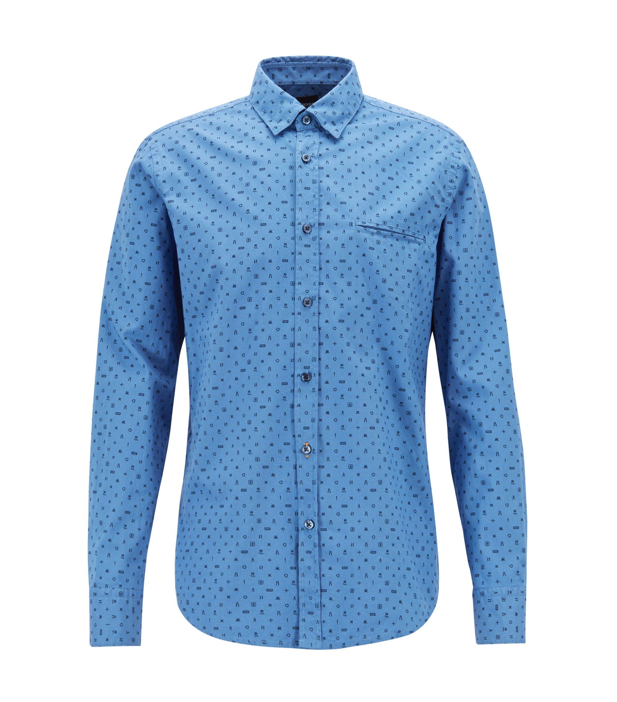 Regular-fit Oxford shirt with mini-print motif, Dark Blue