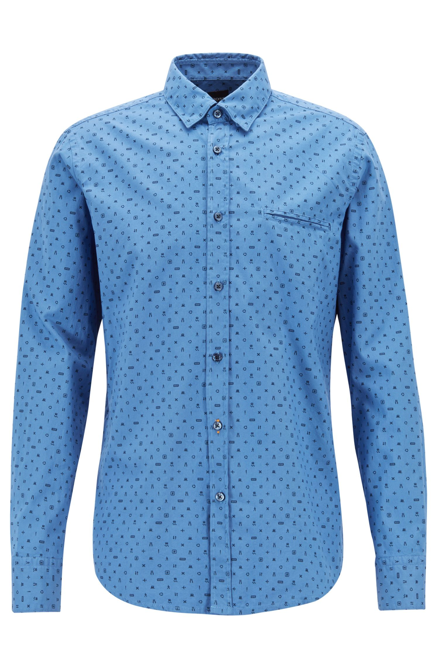 Camicia stile oxford regular fit con microstampa, Blu