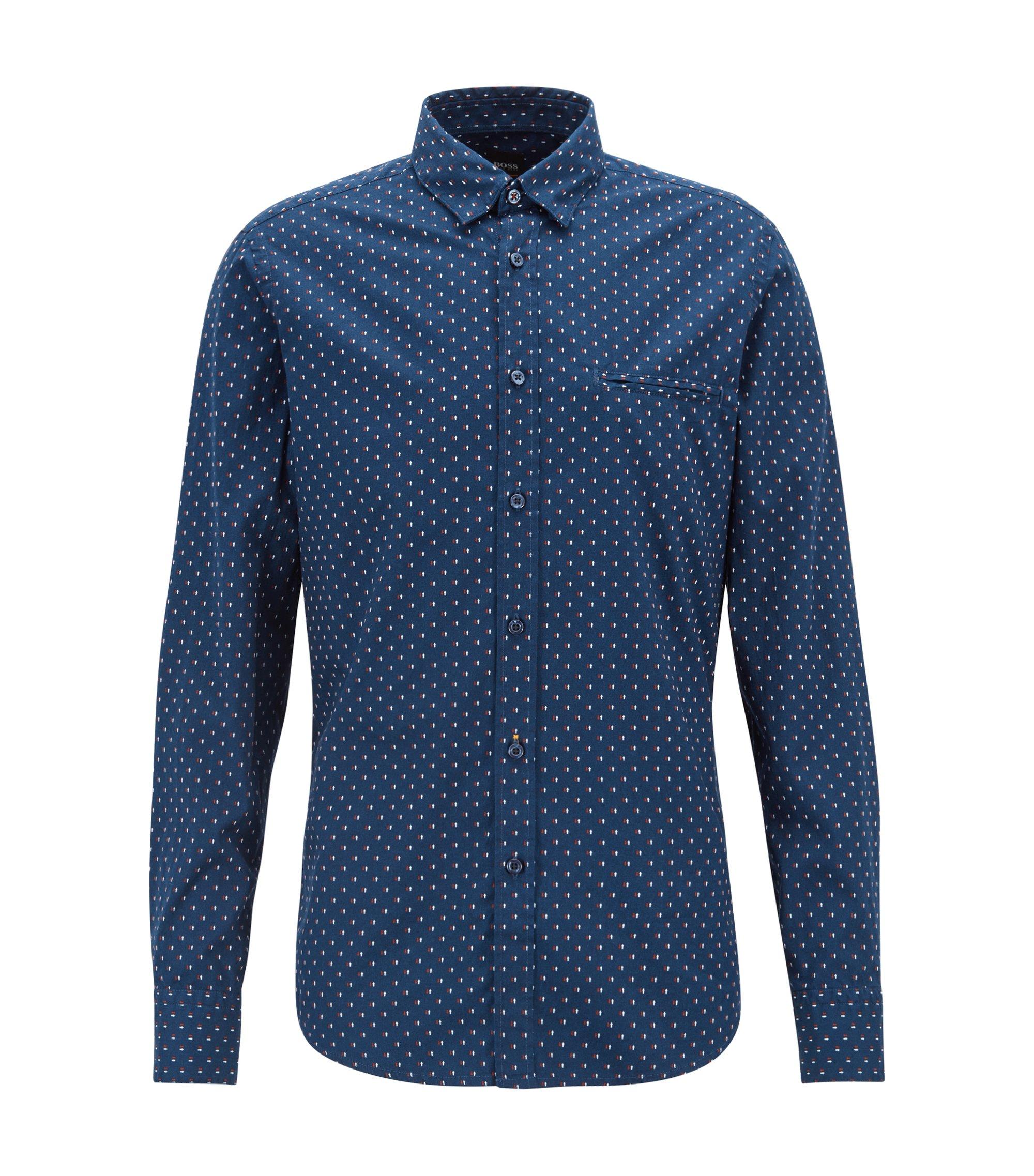 Regular-fit Oxford shirt with mini-print motif, Open Blue