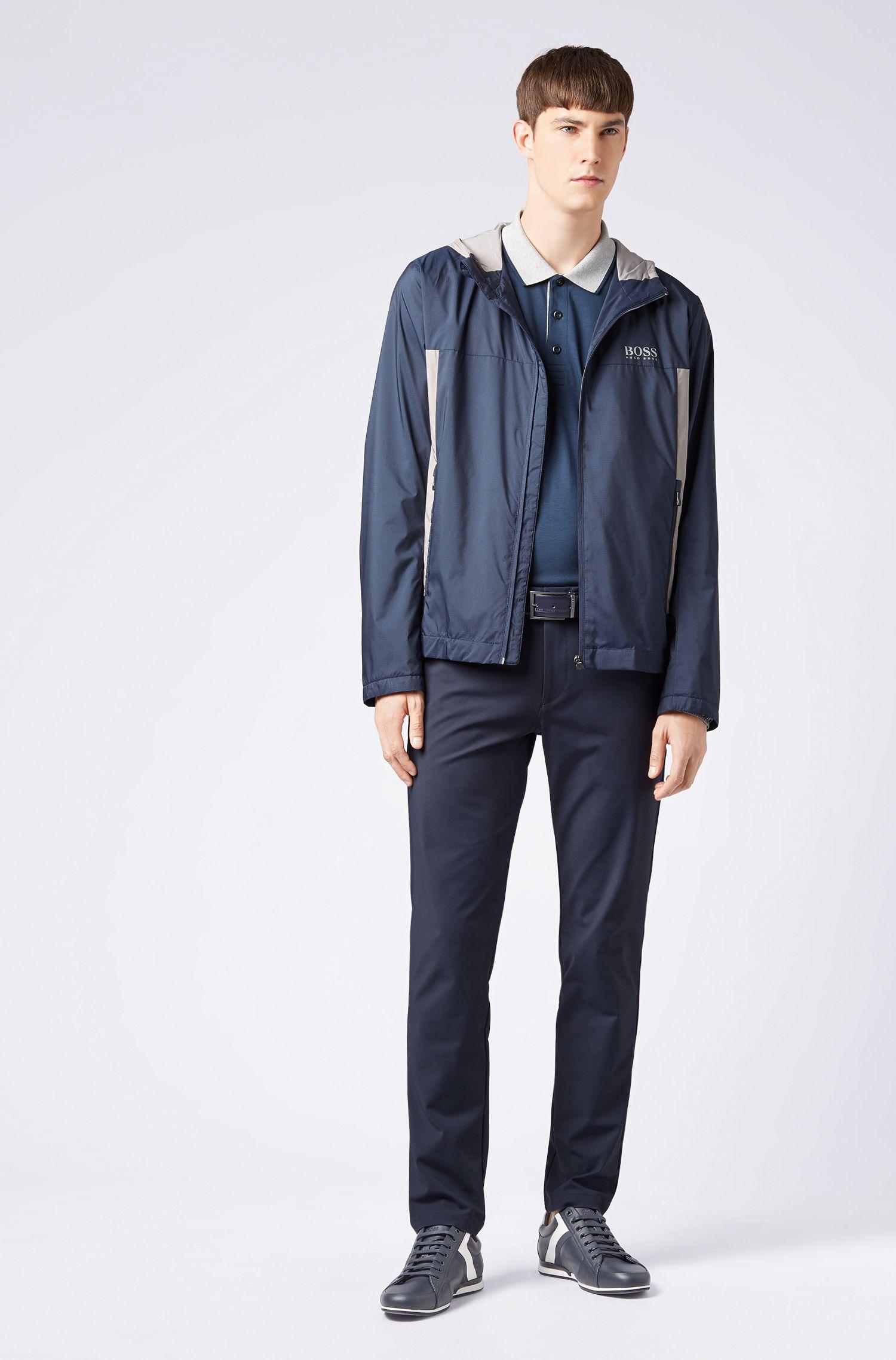 Polo Slim Fit en coton à manches longues, Bleu foncé