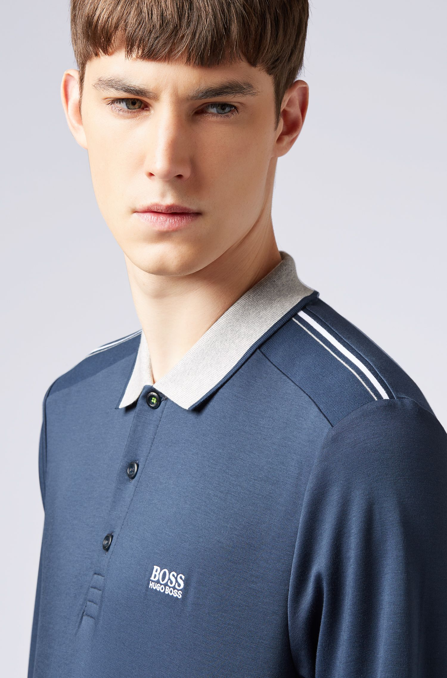 Slim-fit polo shirt in cotton with long sleeves, Dark Blue
