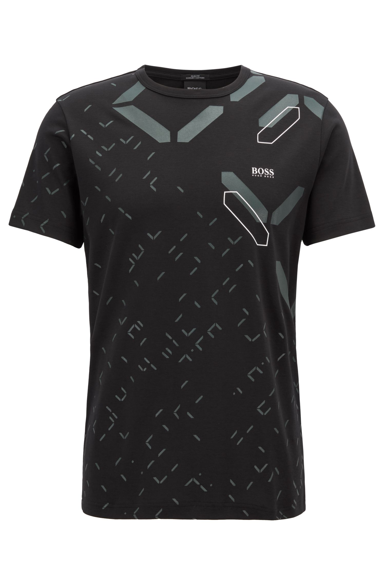 Slim-fit T-shirt with all-over digital-clock artwork, Black