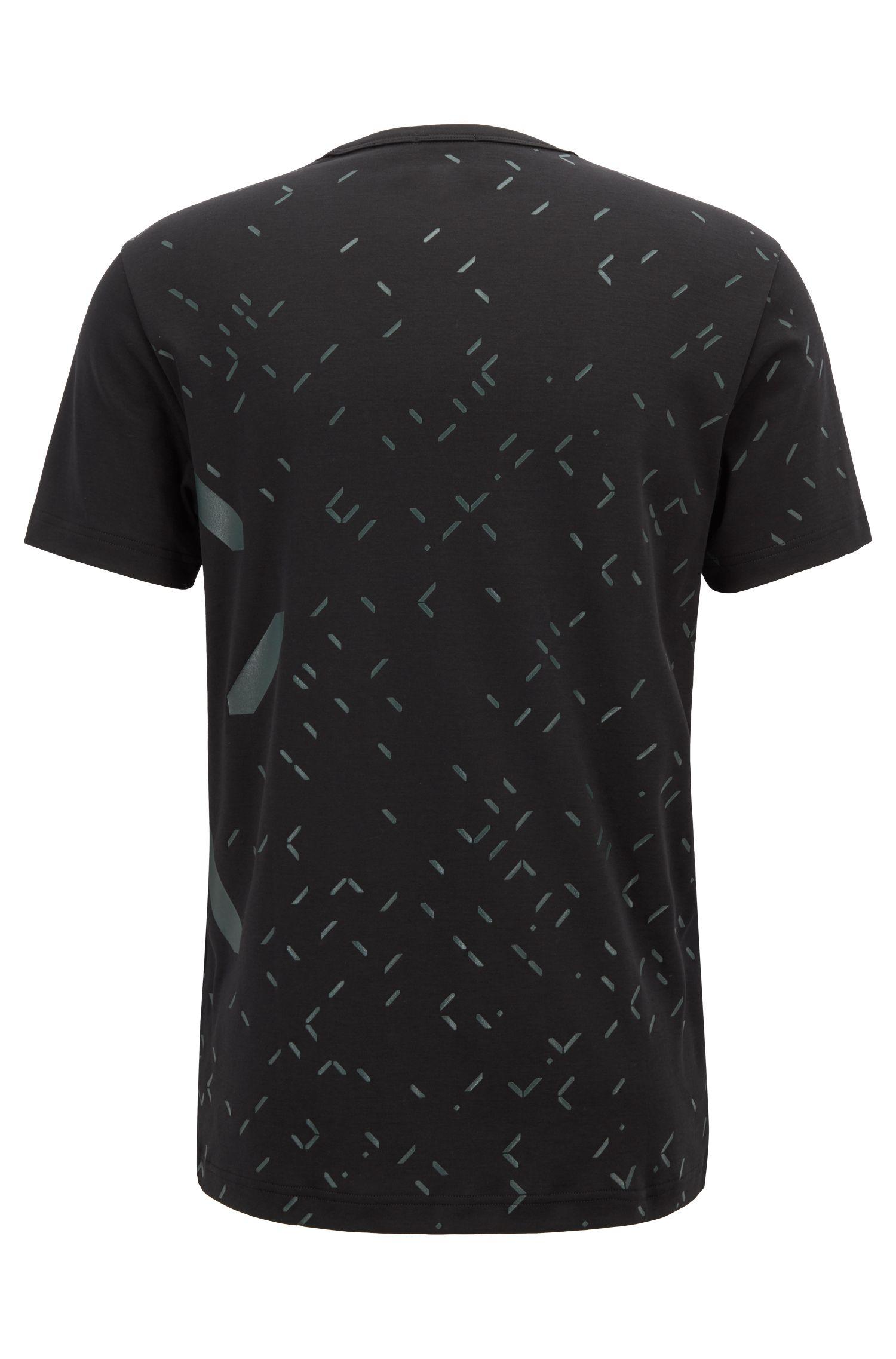 Camiseta slim fit con el diseño por toda la prenda de un reloj digital, Negro