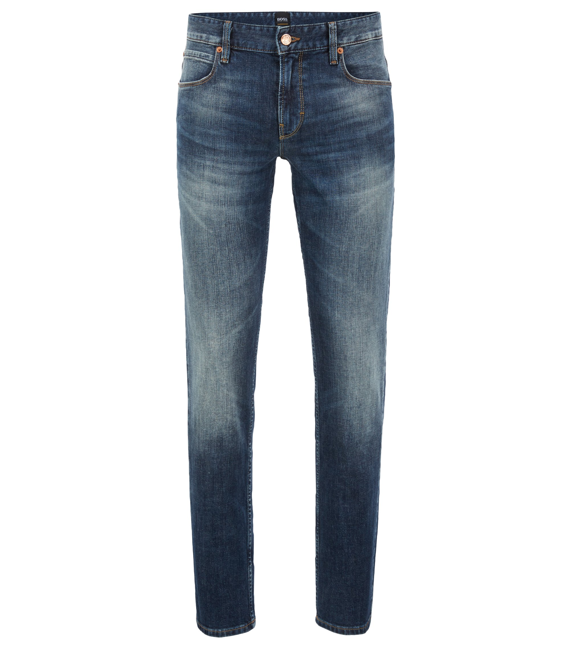Jeans slim fit in autentico denim elasticizzato, Blu