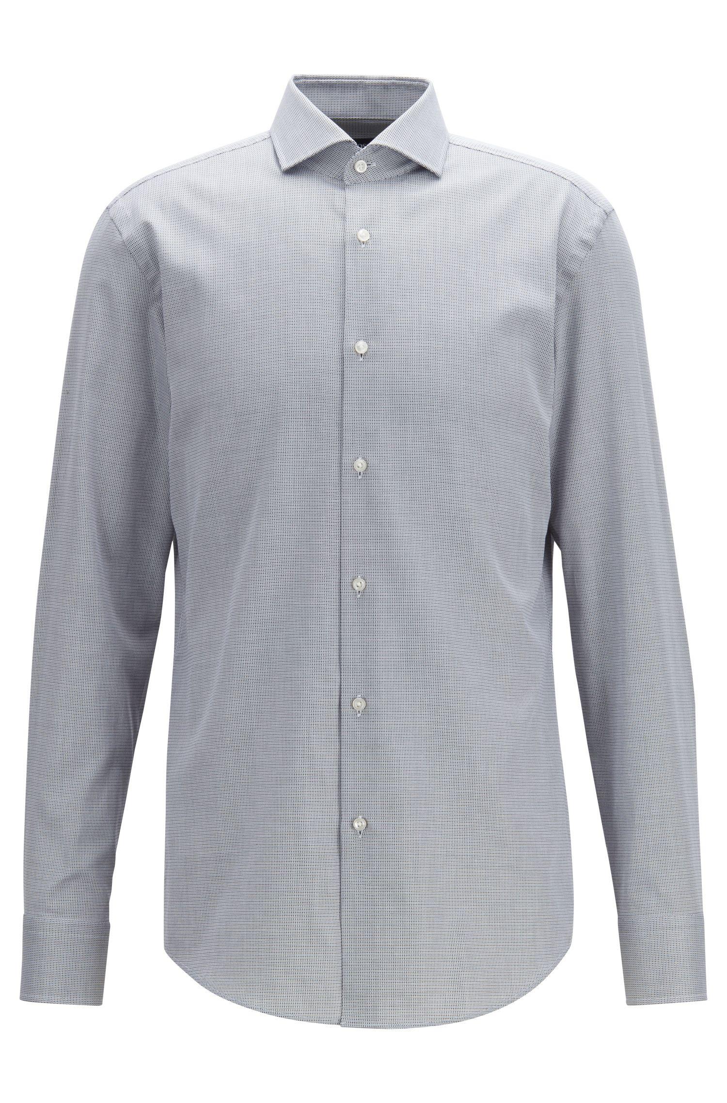 Slim-Fit Hemd aus fein strukturierter italienischer Baumwolle, Schwarz