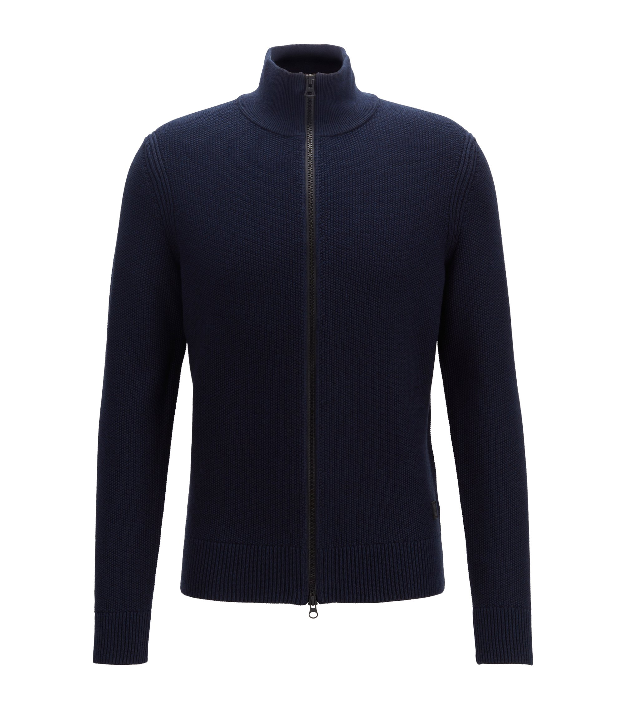 Knitted jacket in a structured cotton blend, Dark Blue