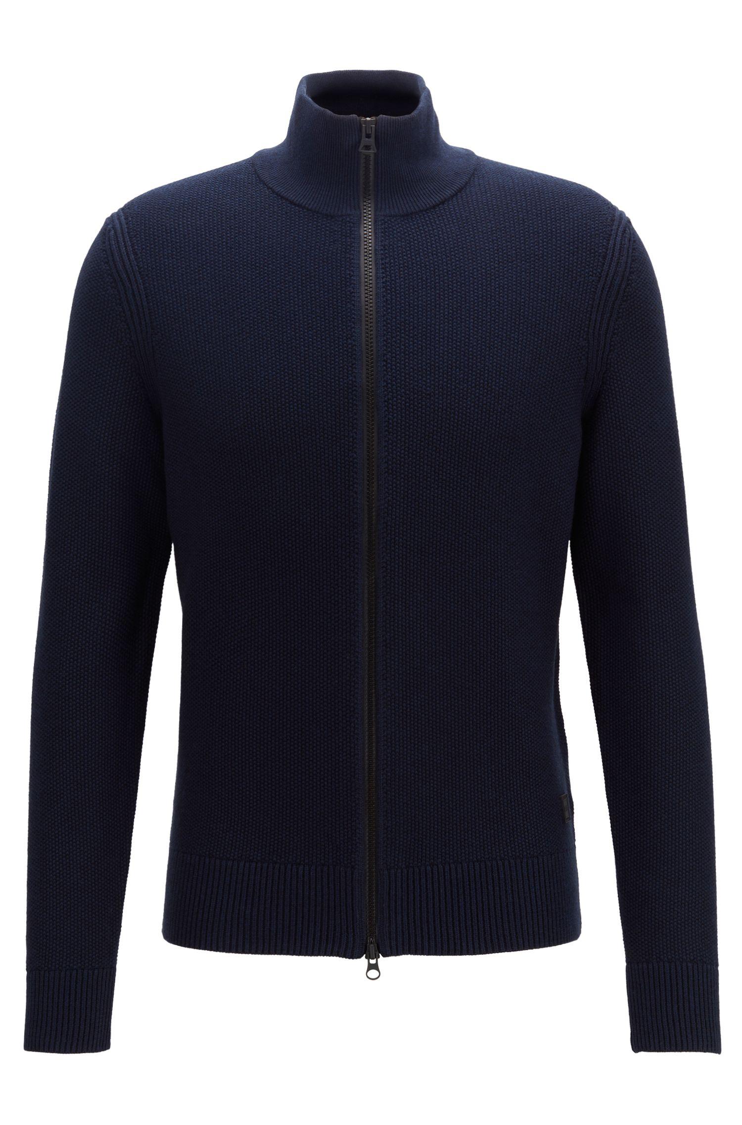 Gebreide jas van een gestructureerde katoenmix, Donkerblauw