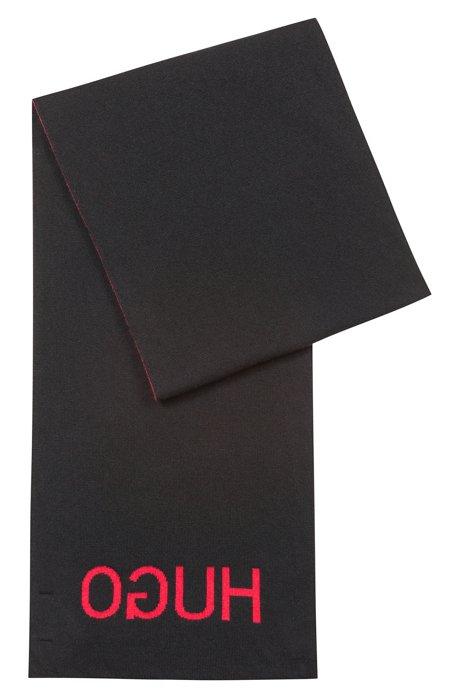 Jacquard-Schal mit Logo und QR-Code, Schwarz