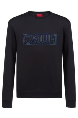 Crew-neck sweatshirt in pure cotton with reverse logo, Black